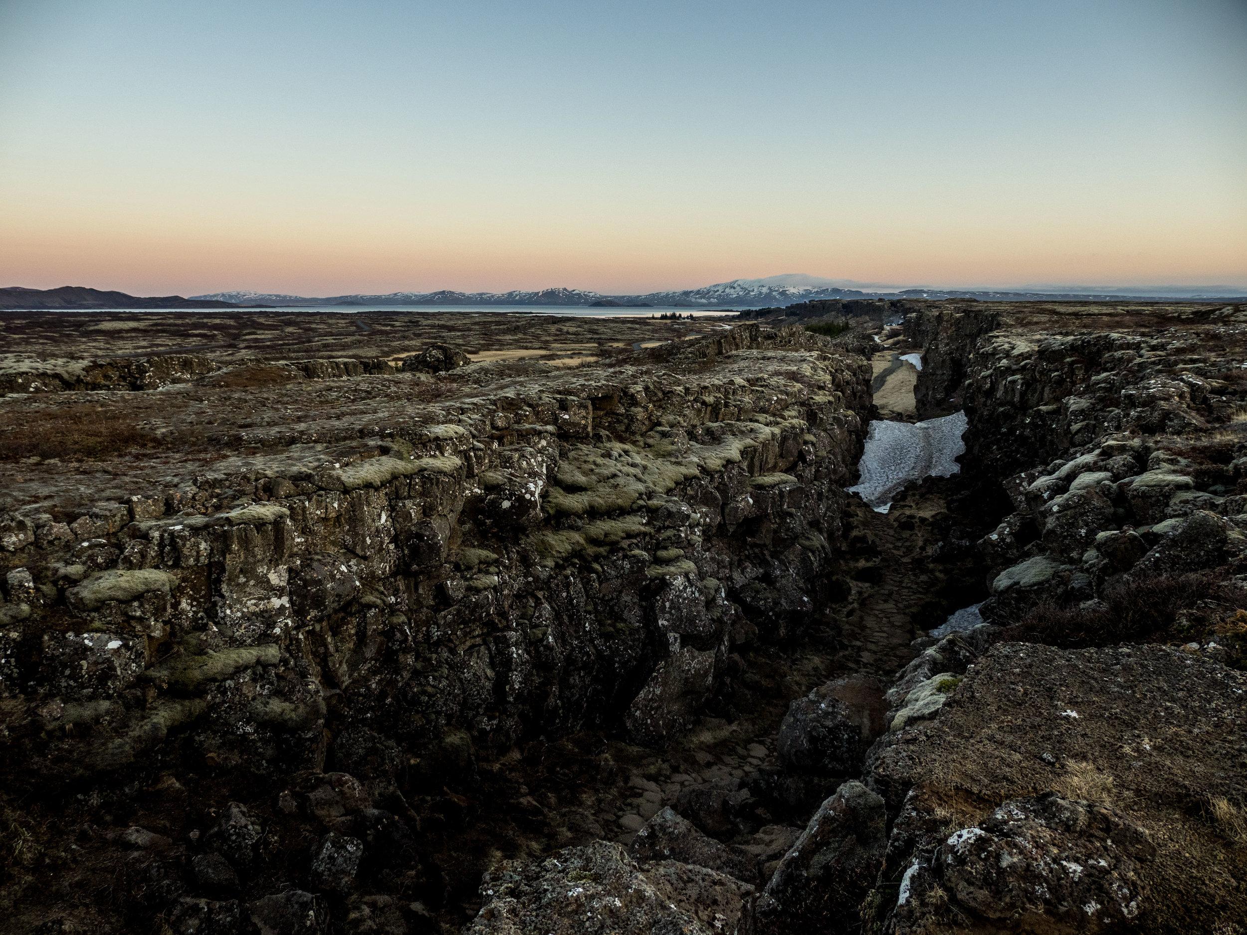 The mid Atlantic ridge in Þingvellir National Park.Iceland is half North American half European.