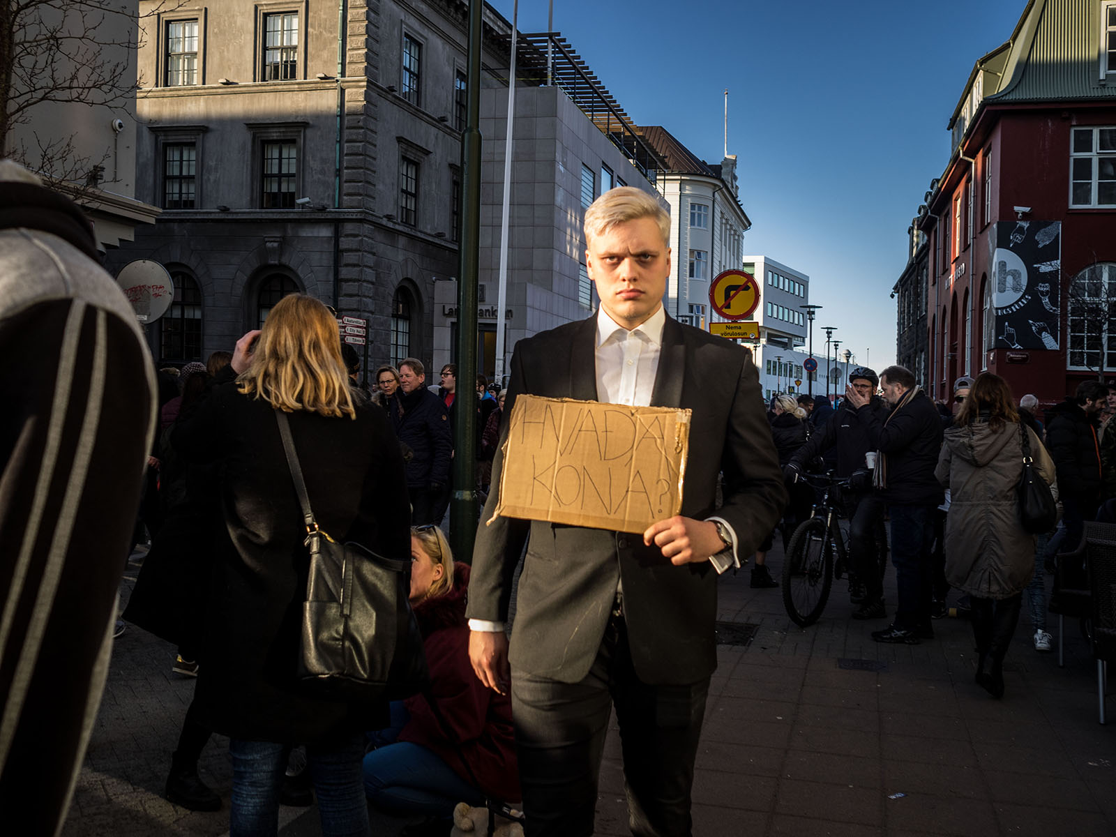 """""""What woman?"""" A reference to former Icelandic PM denial of connection to his wife's off shore accounts. Panama Papers Protests, Reykjavík 2016"""