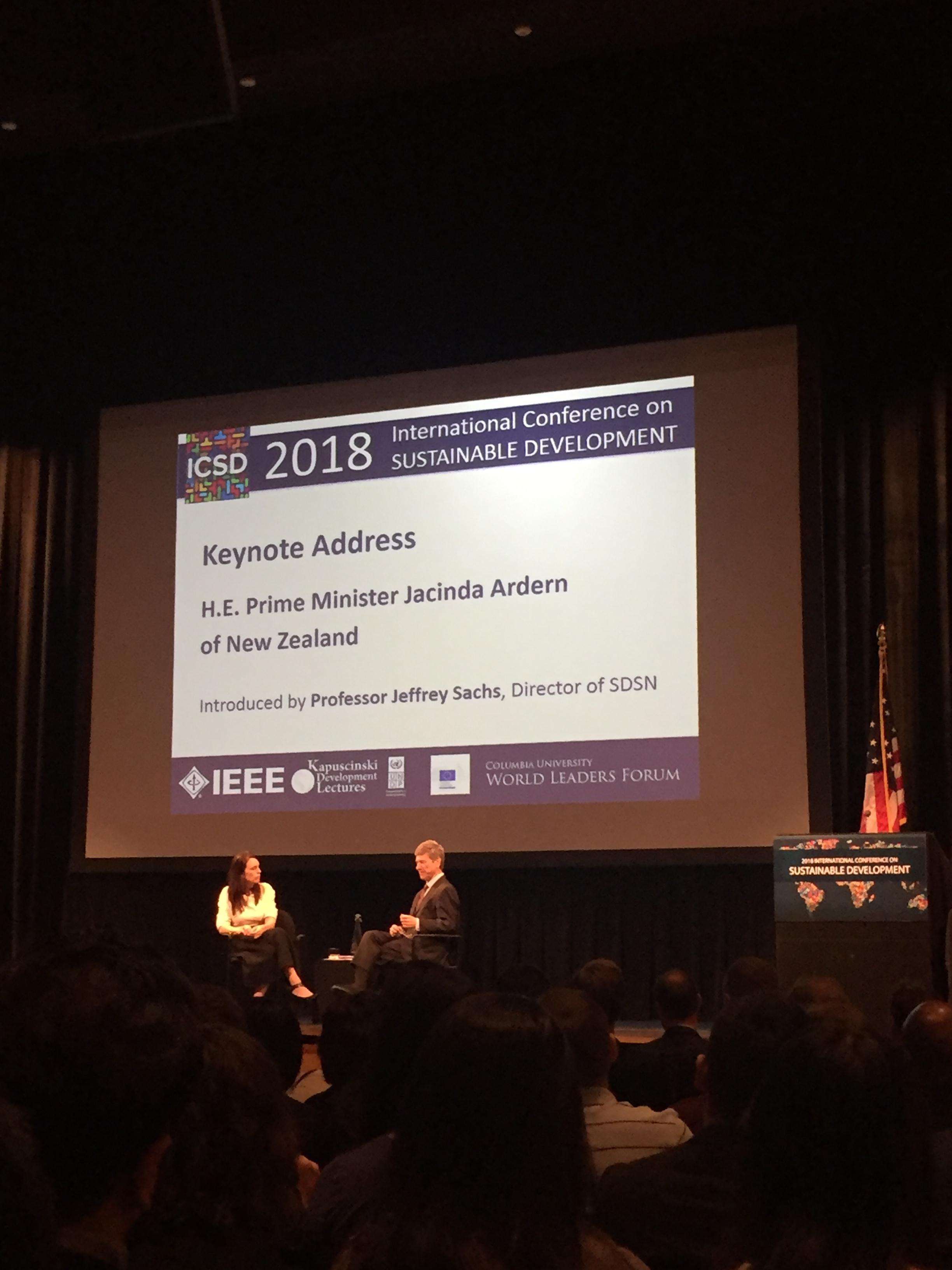 Professor Jeffrey Sachs interview PM Ardern after her keynote address at ICSD. Photo Credits: Sienna Nordquist