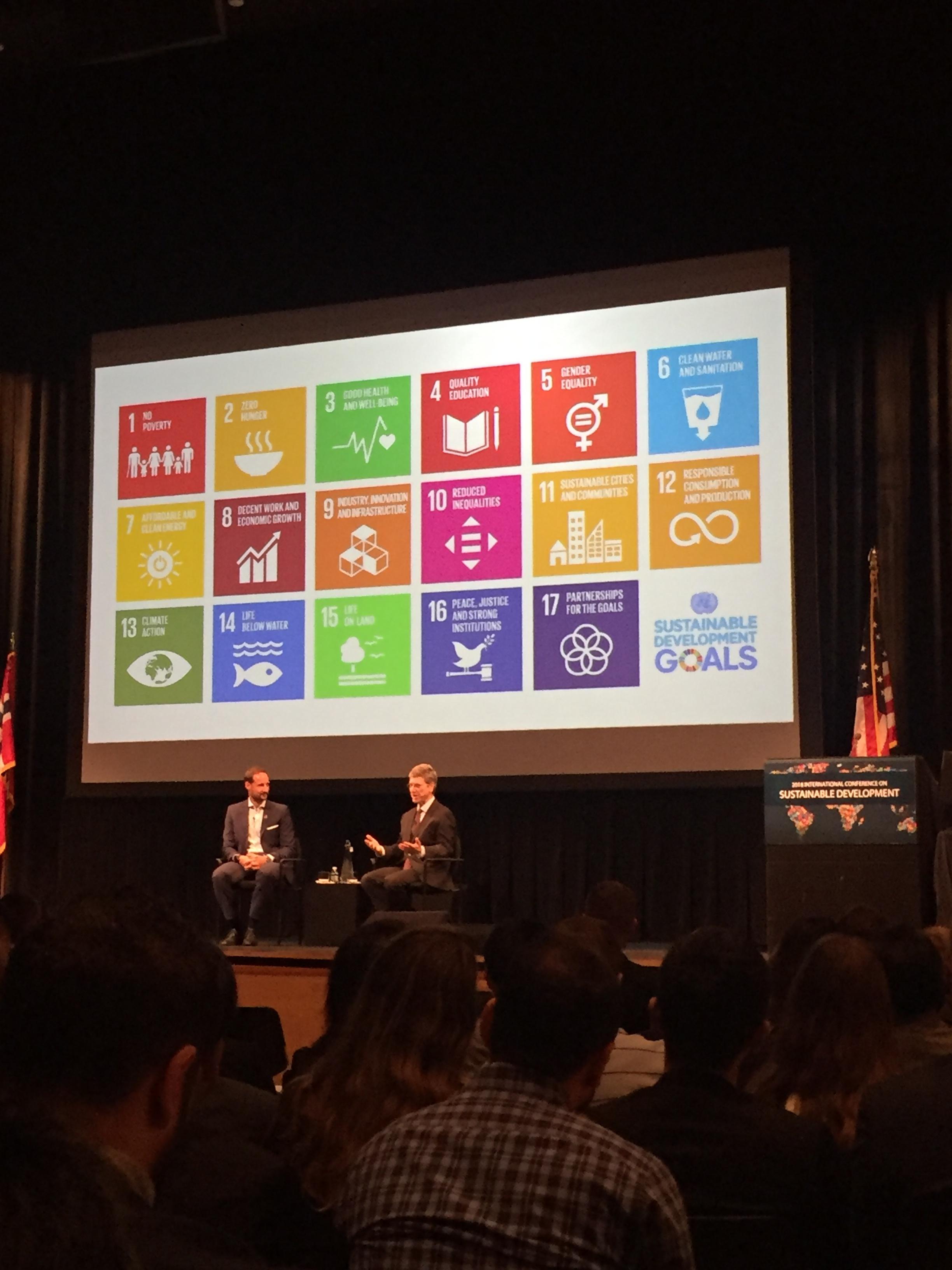 Professor Jeffrey Sachs interviews HRH Crown Prince Haakon after his keynote address at ICSD. Photo Credits: Sienna Nordquist