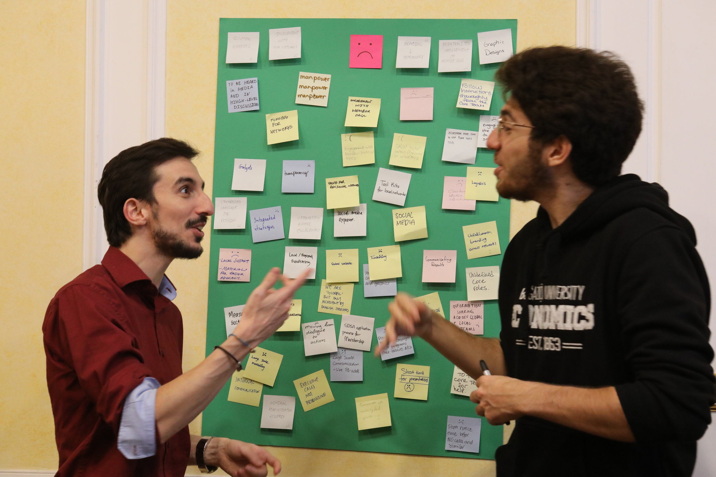 Massimo Gigliotti, from SDSN Mediterranean, and Toygar Akay, from SDSN Turkey, have a friendly disagreement over how to group network goals and objectives.  Photo Credits: Yuntong Man/SDSN Youth