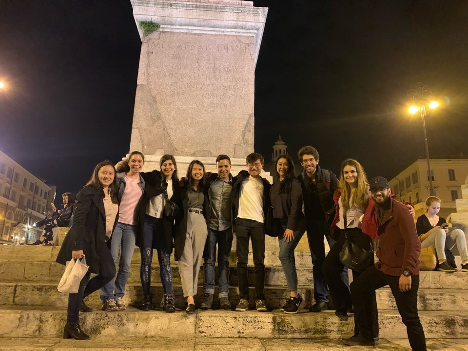 Some of SDSN Youth's team (and Umar Zaidi) take a group photo in Piazza del Popolo.