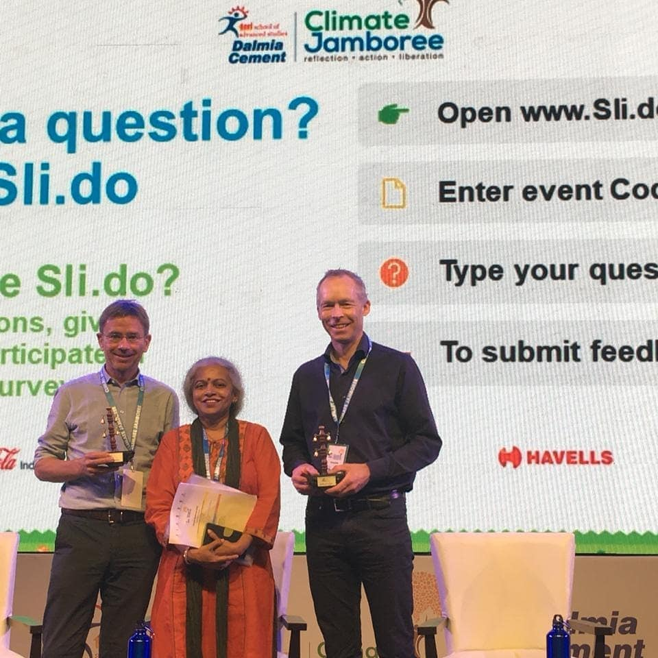 Dr. Stefan Rahmstorf, Dr. Leena Srivastava (Vice Chancellor, TERI SAS) and Dr. Johan Rockstrom after the plenary session