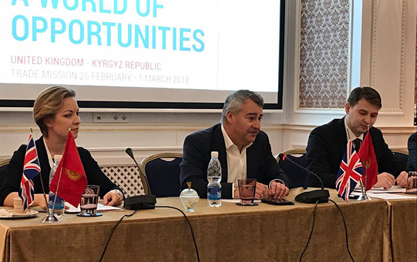 Photo: Alexandra Barnes – Mission Leader, British Expertise International; HE Robin Ord Smith – British Ambassador to Kyrgyzstan; Minister Artem Novikov – Minister of Economy, Kyrgyzstan.