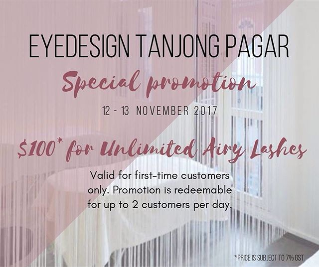 ‼️ SPECIAL PROMO IS BACK ‼️ . . Enjoy unlimited Airy lashes at only $100 (U.P. $130) for tomorrow (12 November 2017) and Monday (13 November 2017)! All first-time customers are welcome to enjoy this promotion, so PM or call us to make an appointment for any of these 2 dates! . . Please note that this promotion is redeemable up to 2 customers per day, and will be subjected to availability on a first-come-first-serve basis. . . So, what are you waiting for? Call 6221 2855 or PM us on Facebook to secure your slot!
