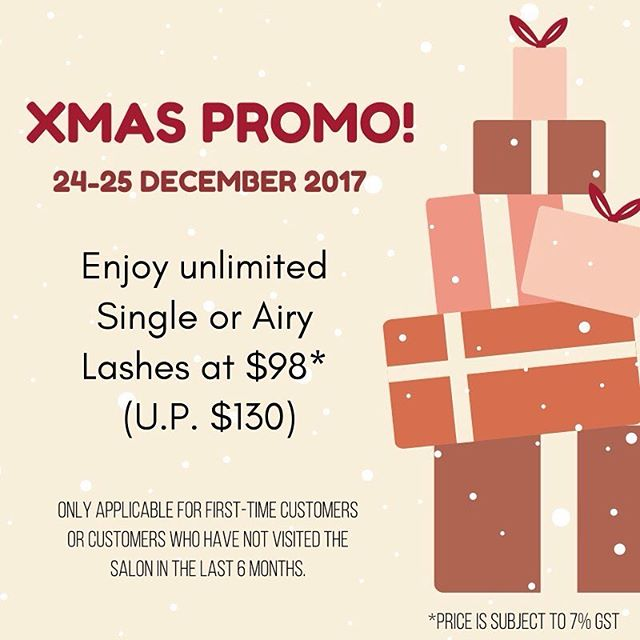 💝 XMAS PROMOTION! 💝 . . From 24 (that's tomorrow!) to 25 December, enjoy unlimited Single or Airy lashes at only $98 (+GST). 🎉 . . Promotion is only valid for first-time customers or existing customers who have not visited us for the last 6 months. . . Call us at 6221 2855 or drop us a message to book your appointment! #lashextensions #eyedesign #eyelashextensions #lashpromo