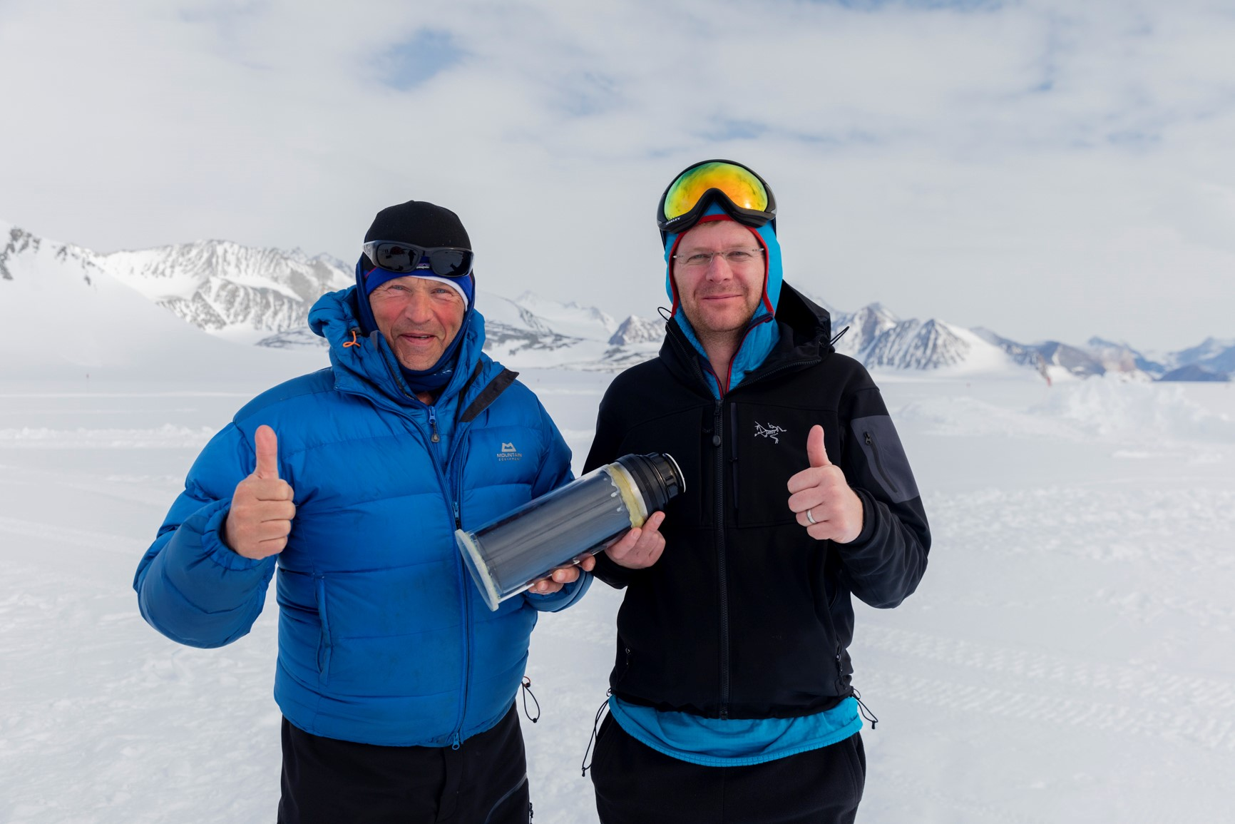Robert Swan and Declan Flanagan with one of the prototype melters during the expedition to Union Glacier in 2016.
