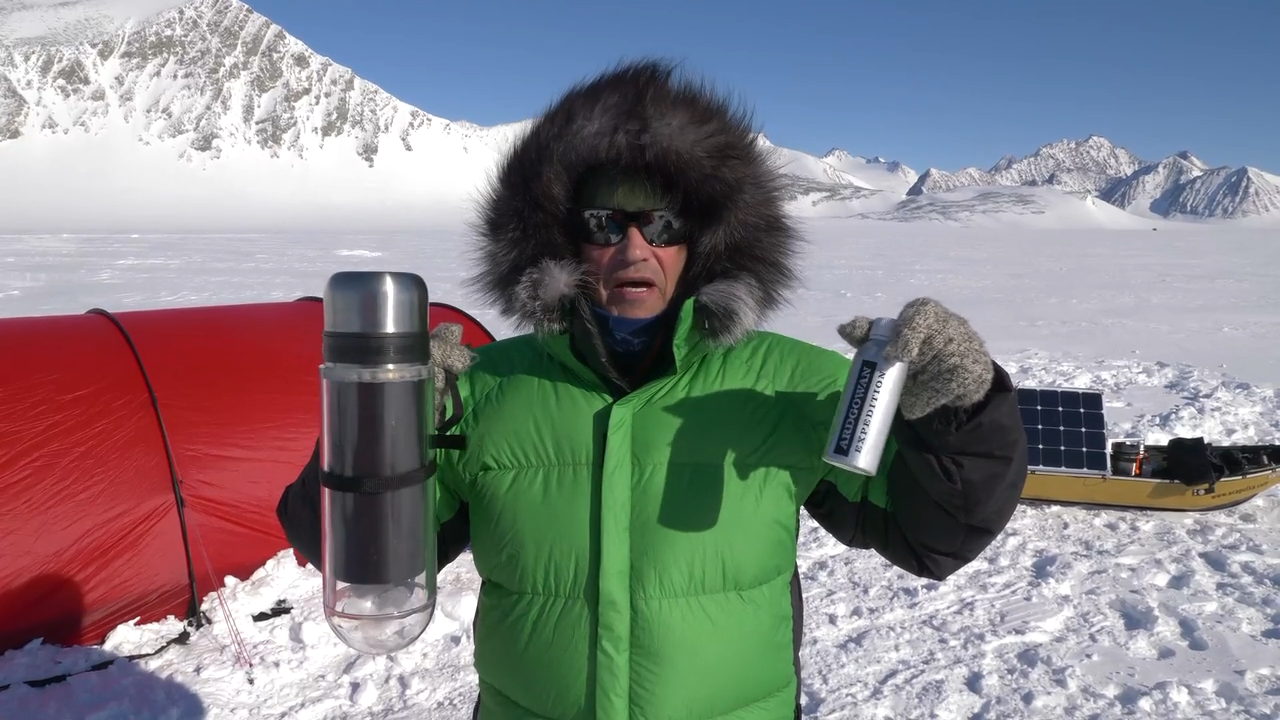 Robert Swan with a snow melter and the special Ardgowan expedition dram