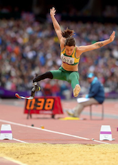 Kelly Cartwright long jumping in the 2012 Paralympic Games in London