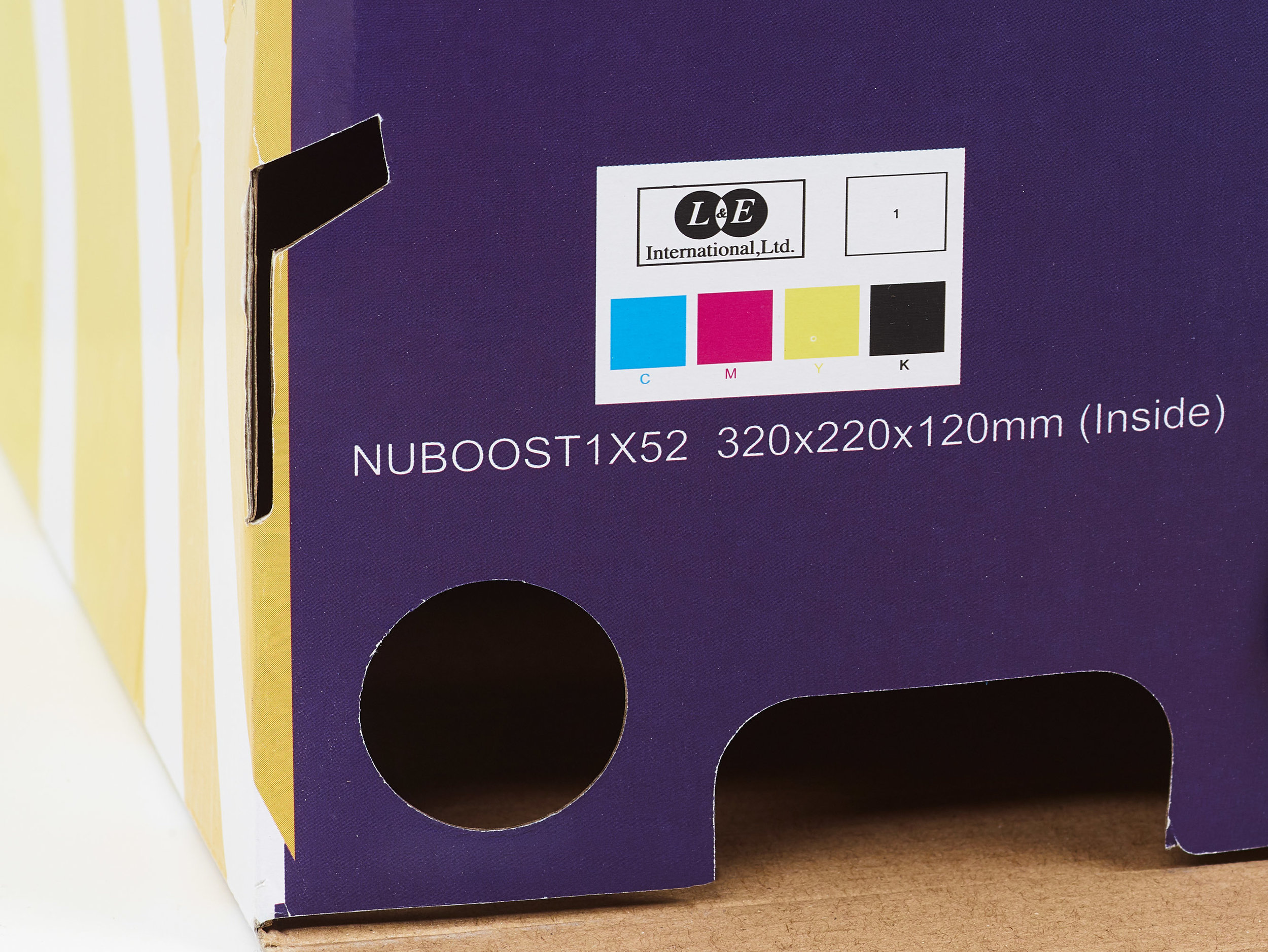 Some styles have their size printed on the side of the box tucked underneath the outer side wall.