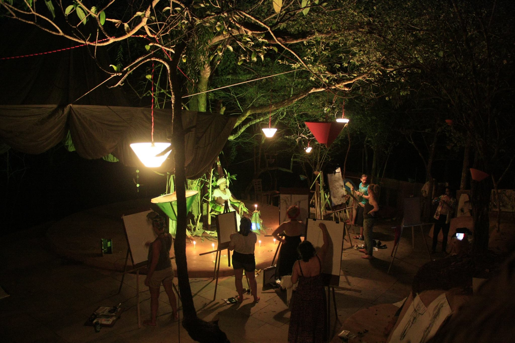 A moonlight life drawing session under the banyan tree