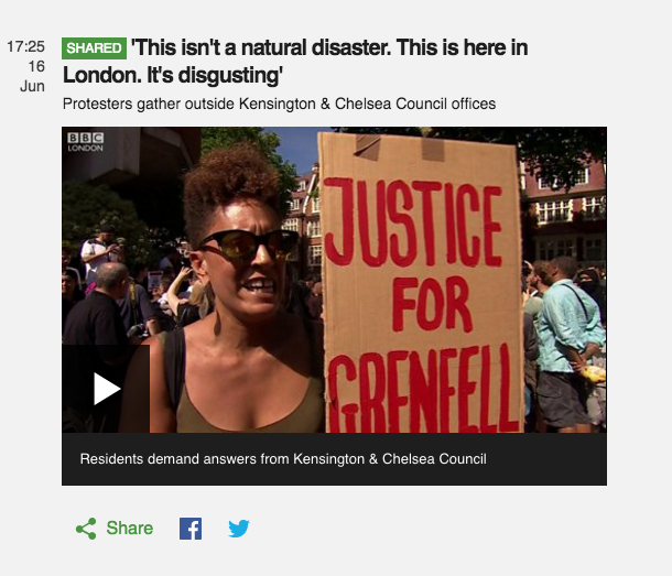 Click link below to view video: http://www.bbc.co.uk/news/live/uk-england-london-40239008?ns_mchannel=social&ns_source=twitter&ns_campaign=bbc_live&ns_linkname=59440435e4b06d5de2effd00%26%27This%20isn%27t%20a%20natural%20disaster.%20This%20is%20here%20in%20London.%20It%27s%20disgusting%27%26&ns_fee=0#post_59440435e4b06d5de2effd00