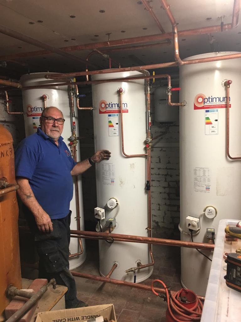 A bank of 3 domestic hot water cylinders