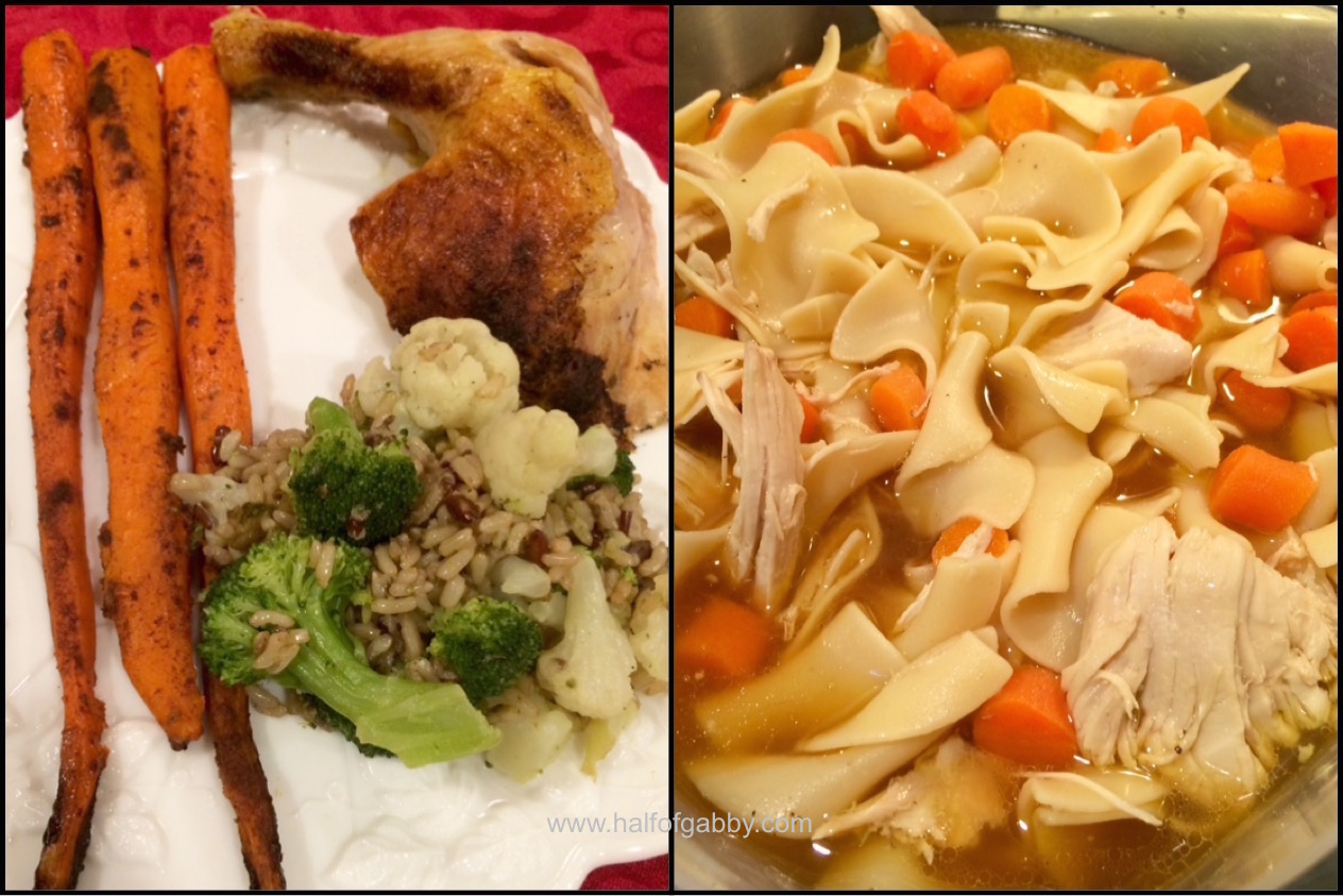 On the left: Roasted Turmeric Chicken, Cinnamon Carrots, and Broccoli/Cauliflower Brown and Red Rice    On the right: Roasted Chicken and Noodles With Carrots and Bone Broth