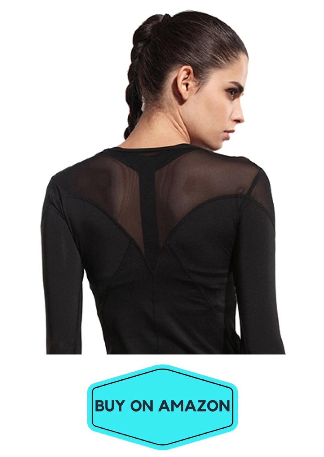 Sexy Long Sleeve Mesh Yoga Top