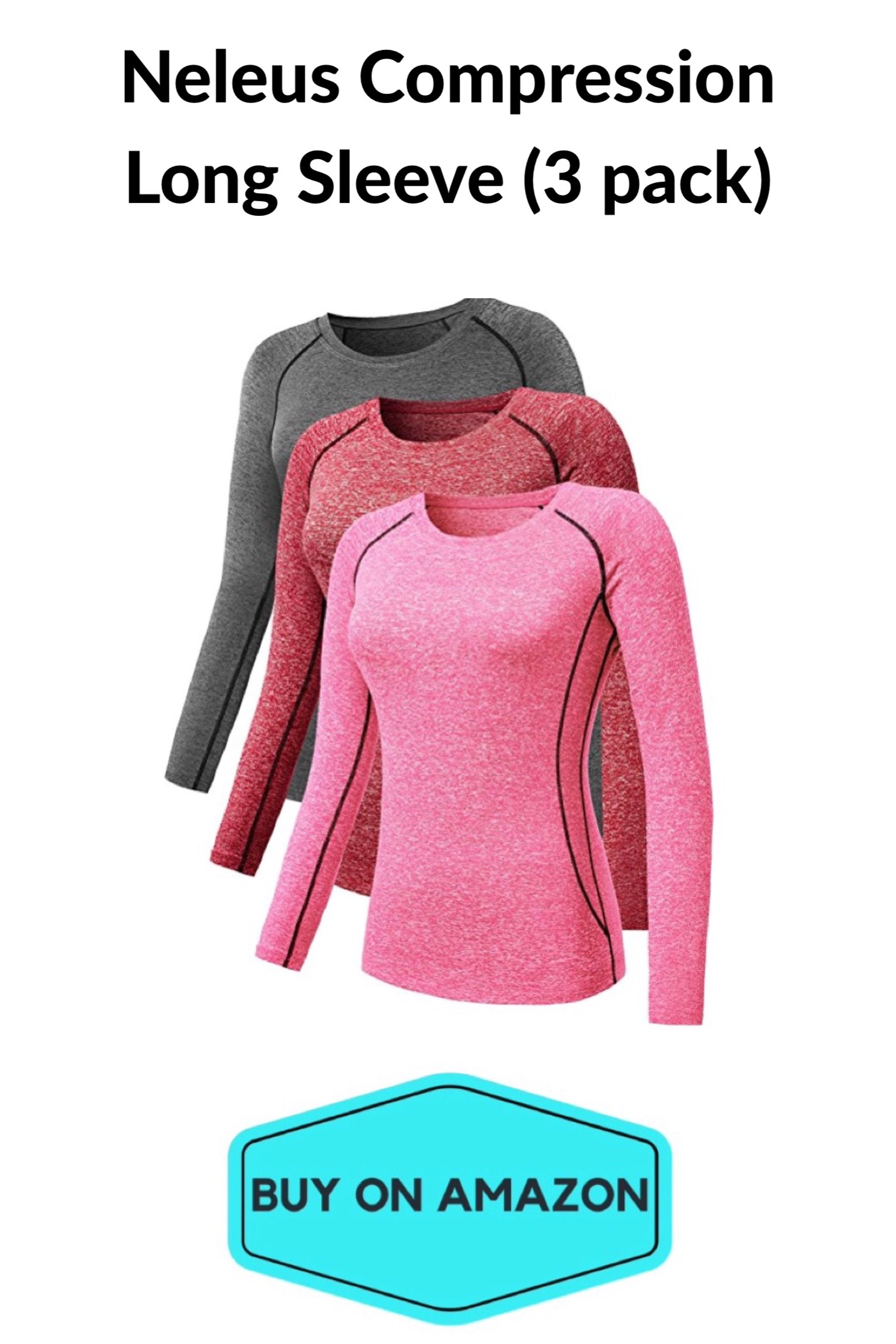 Women's Compression Long Tees, 3-pack