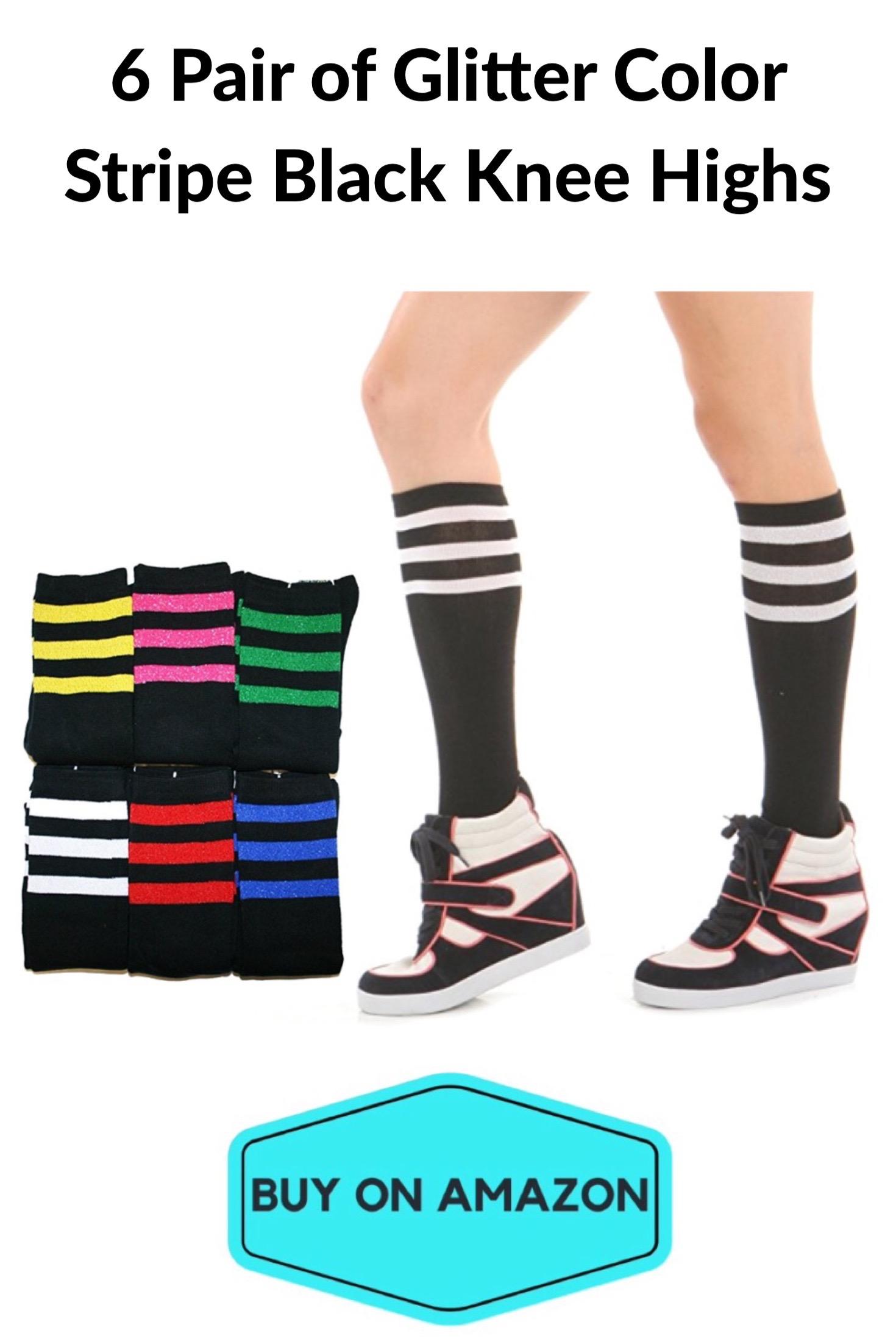 Glitter Stripe Knee High Gym Socks, 6-pack