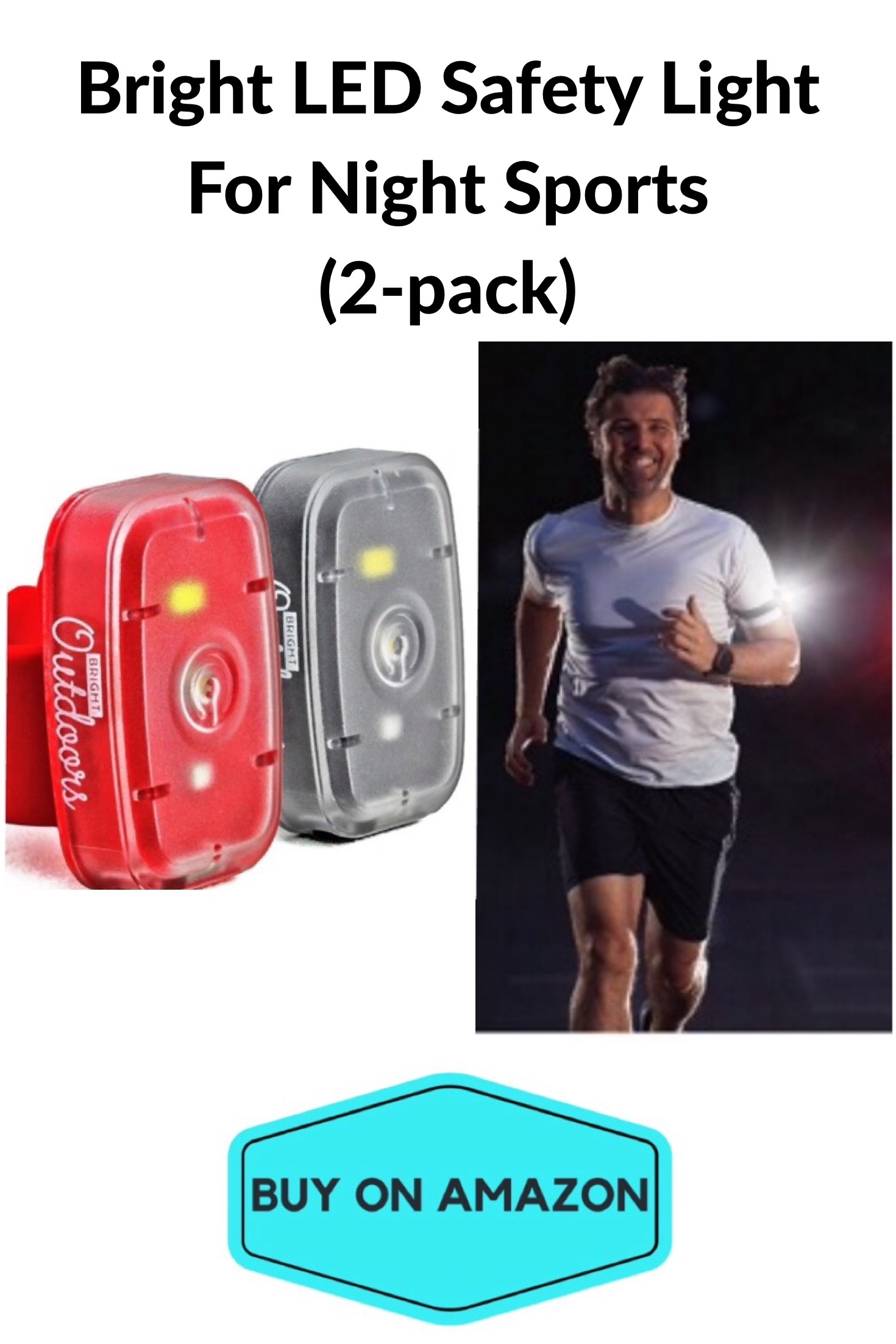 LED Safety Light For Night Sports, 2 pack