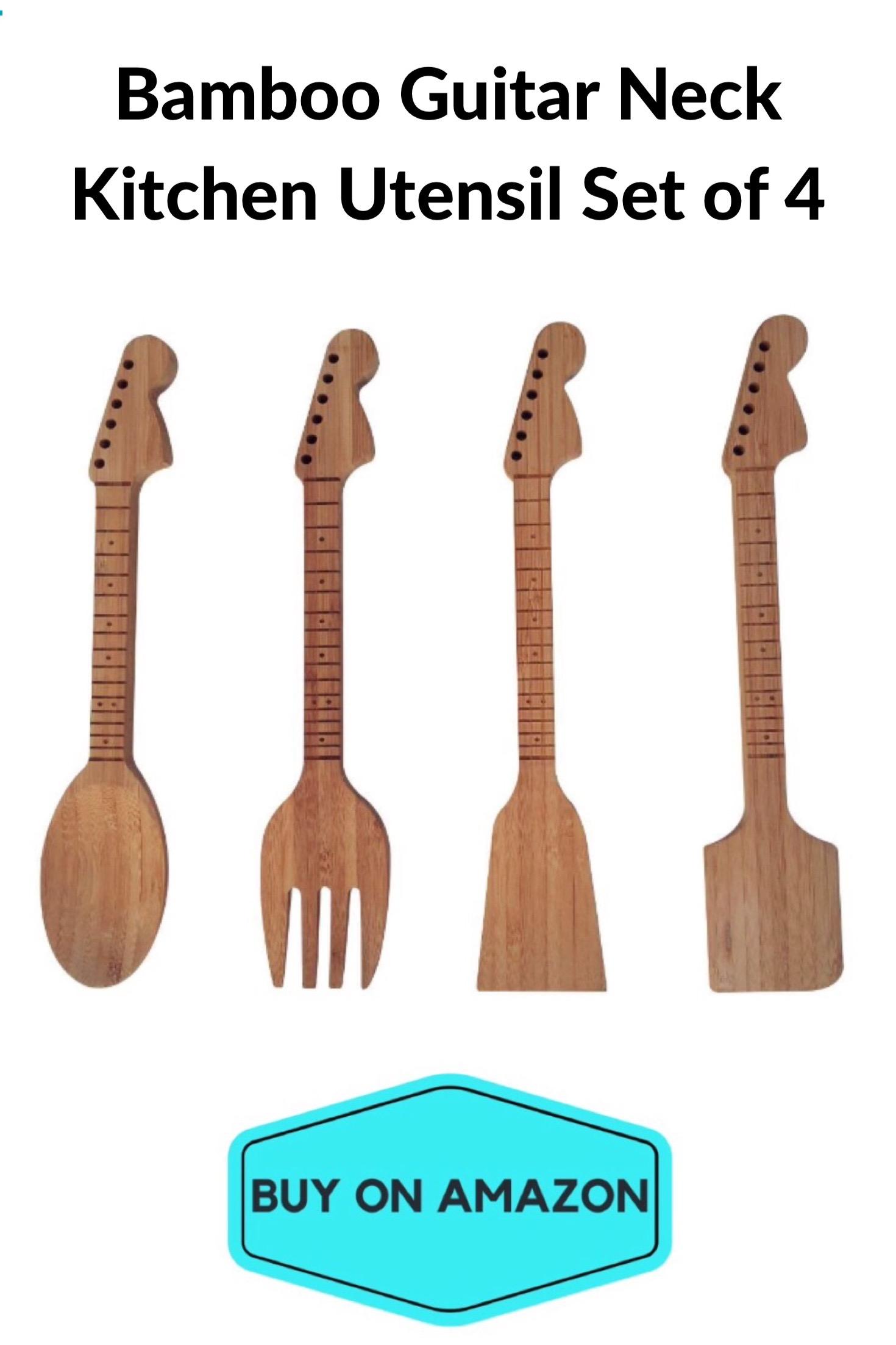 Bamboo Guitar Neck Kitchen Utensil Set of 4