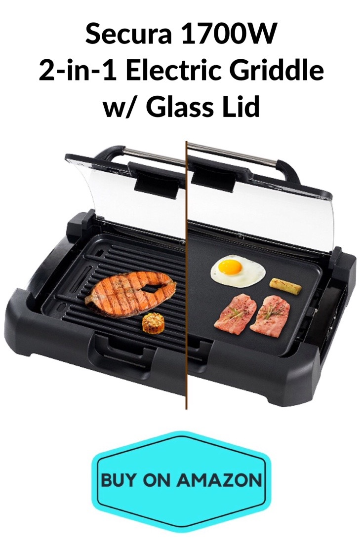 Secura 2-in-1 Electric Griddle w/ Glass Lid