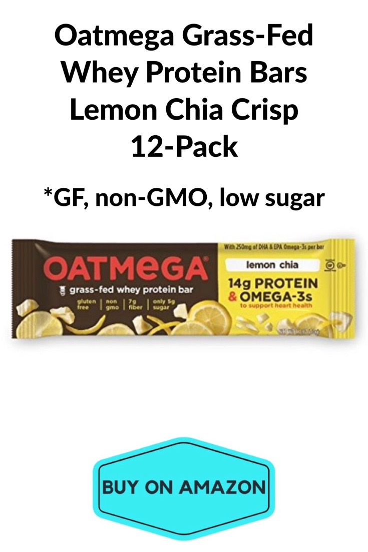 Oatmega Grass-Fed Whey Protein Bars Lemon Chia Crisp, 12 pack