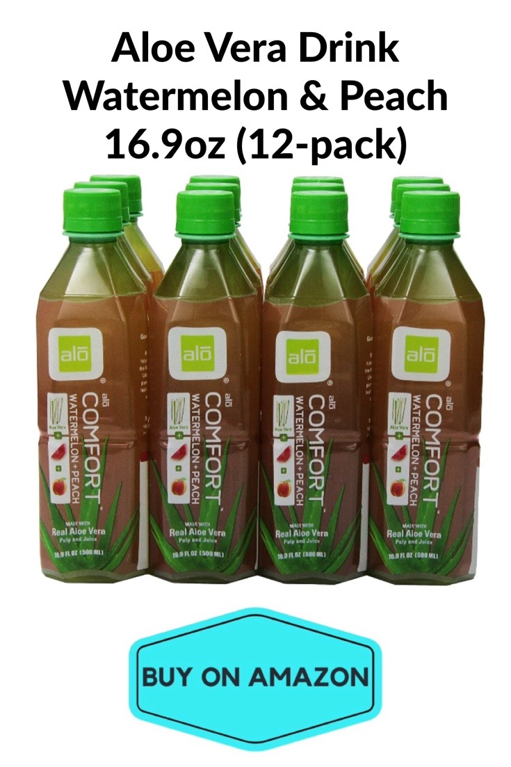 Aloe Vera Drink, Watermelon & Peach, 12 pack
