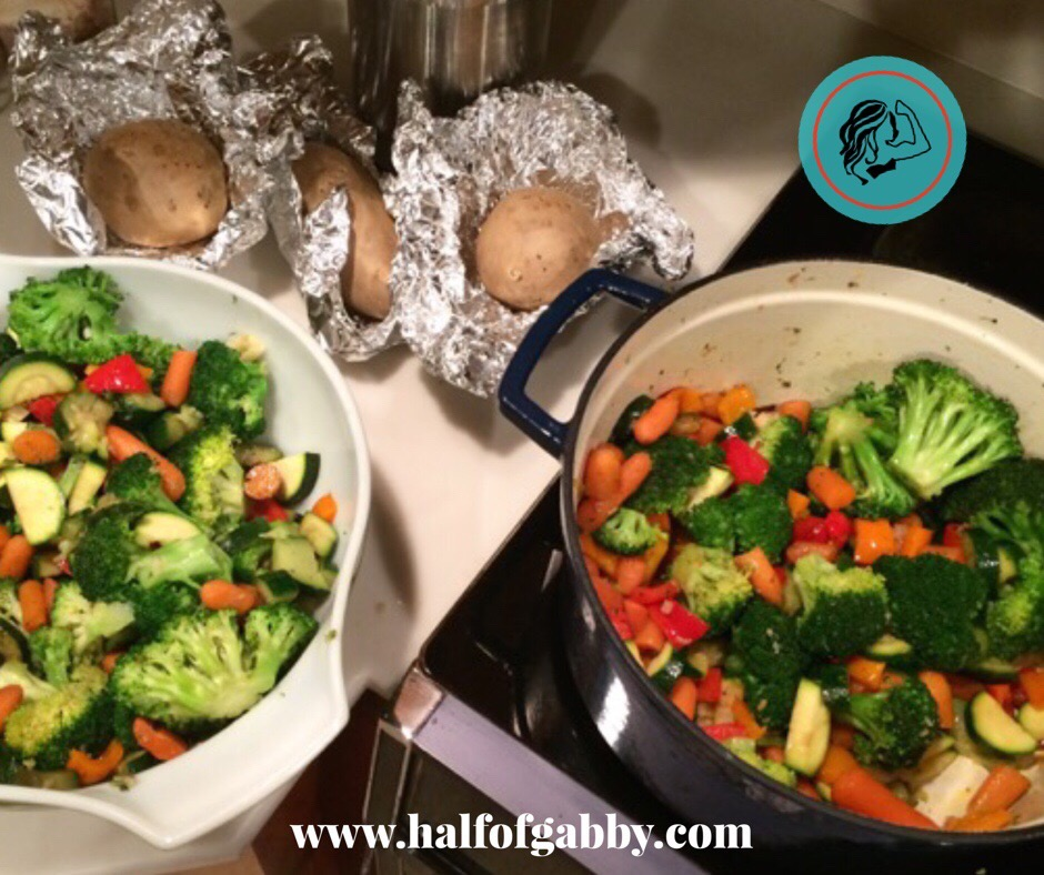 Stir-Fry Vegetables and Baked Sweet Potatoes
