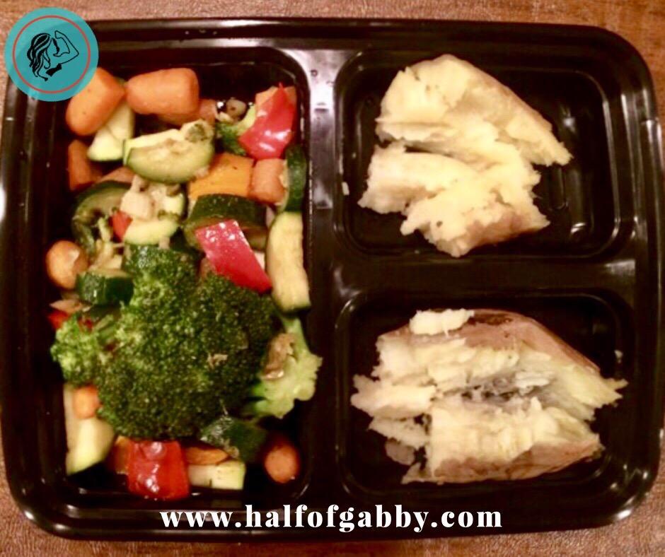Meal prepping stir-fry veggies and sweet potatoes.