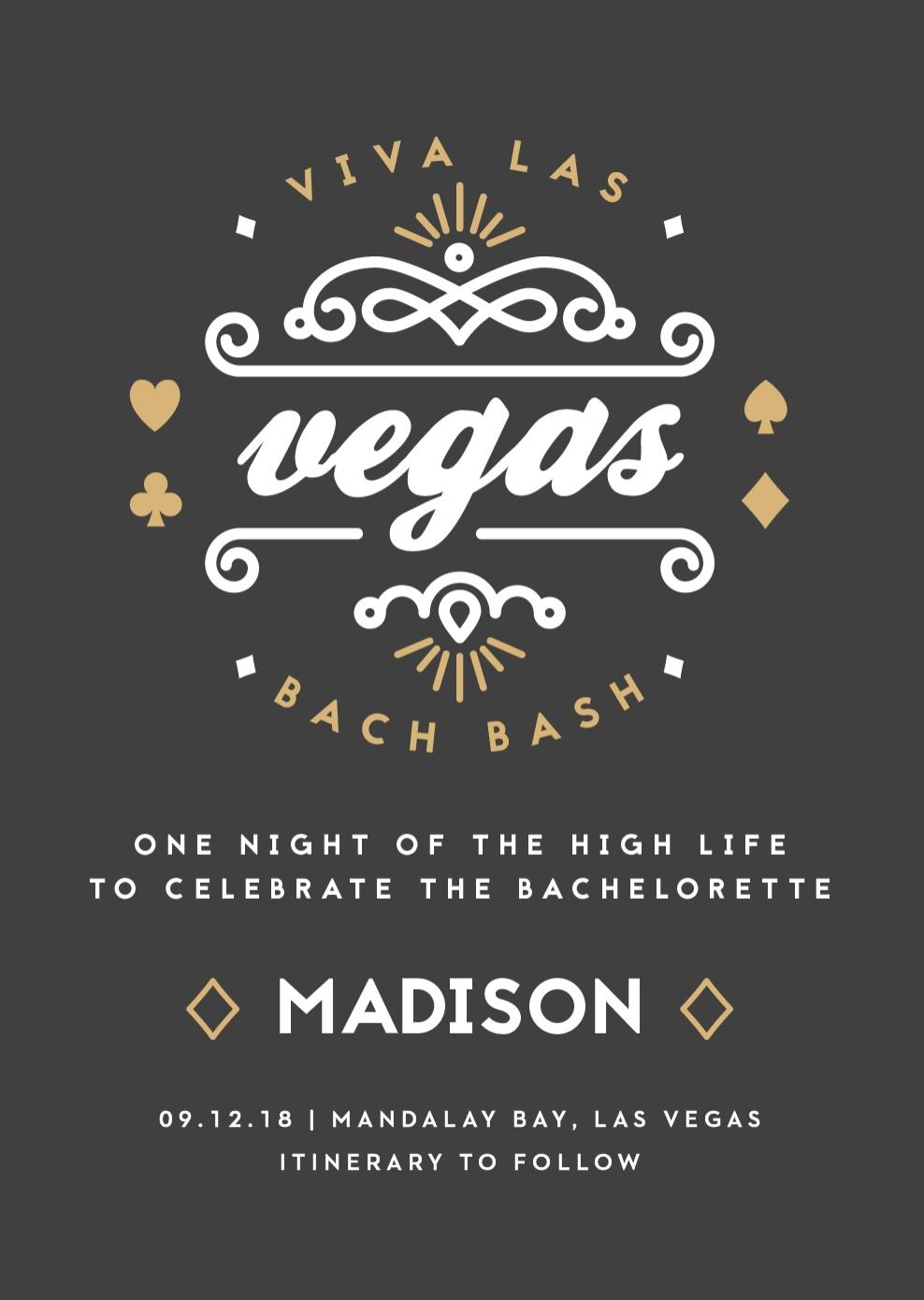 Vegas Bachelorette Party Invitation from Basic Invite