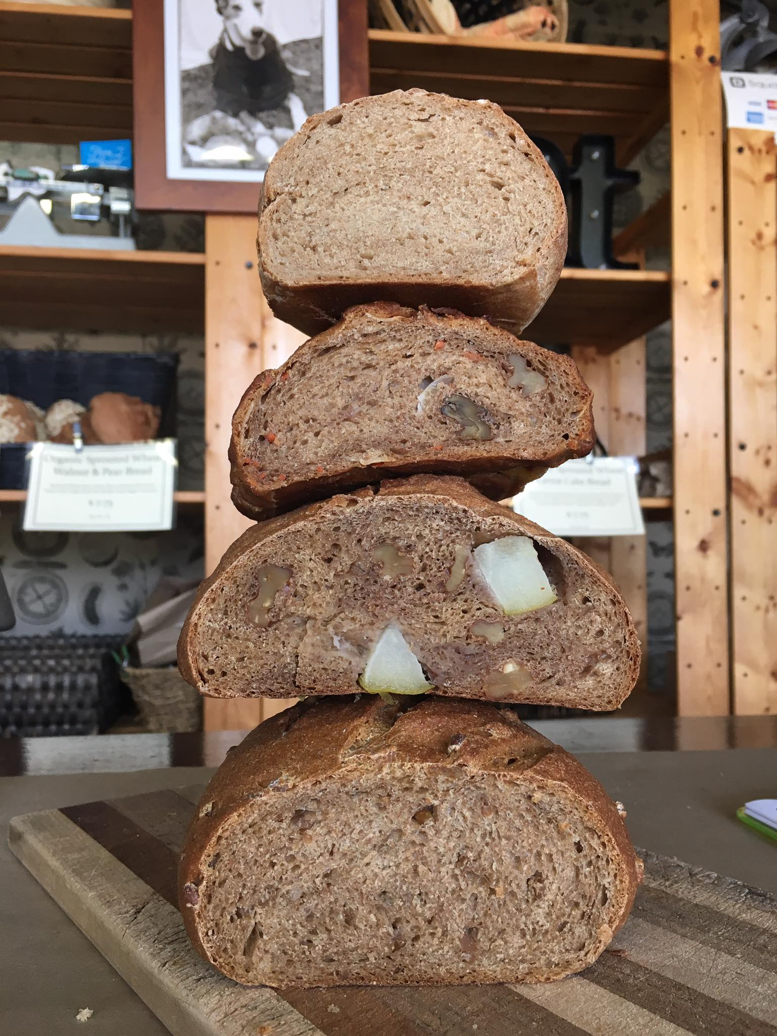 The cut side of some of our Organic Sprouted Artisan loaves. Do you know which ones?