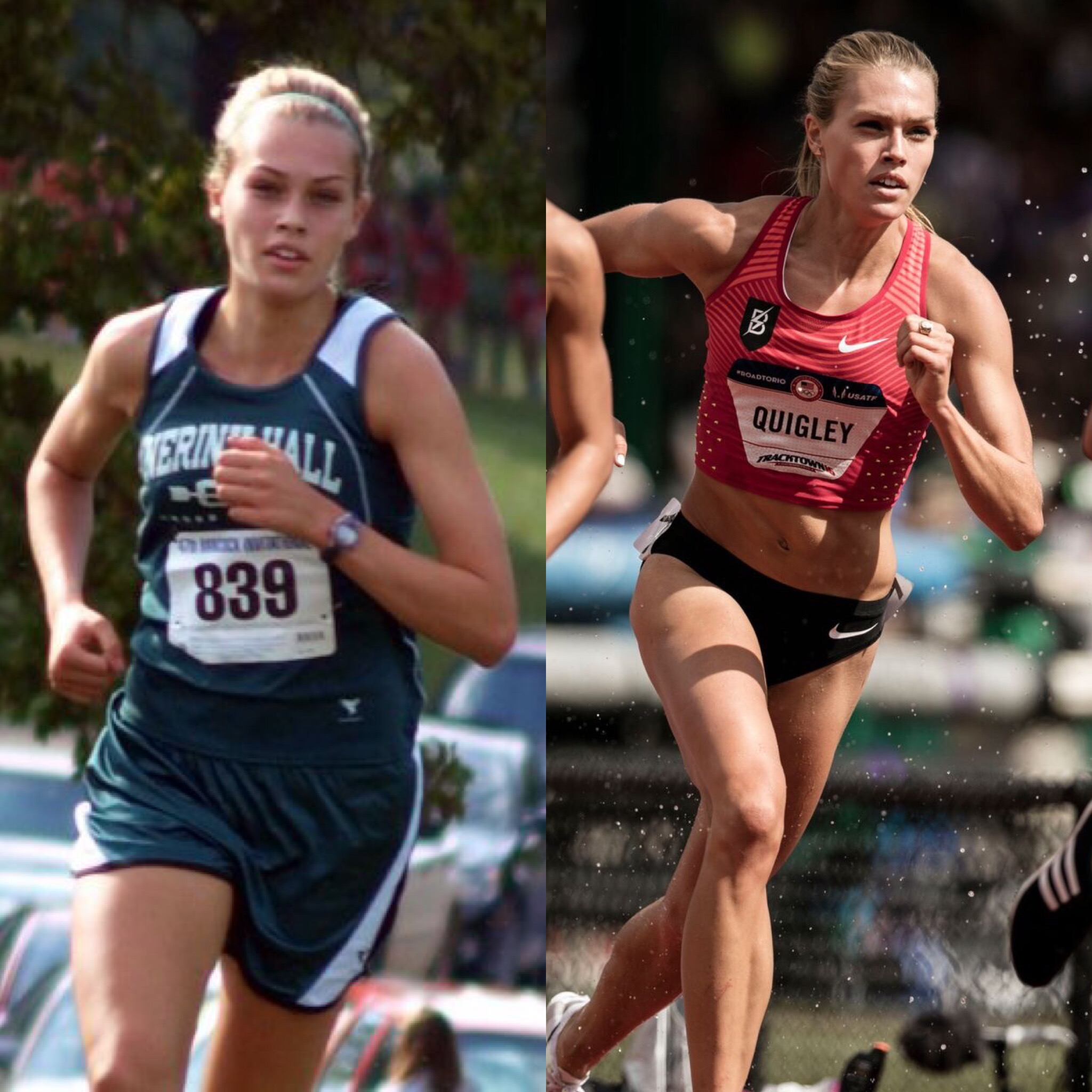 Left: 2010, senior year of high school competing for Nerinx Hall in St. Louis, MO.            Right:2016 at the Olympic Trials competing for the Bowerman Track Club in Eugene, OR.