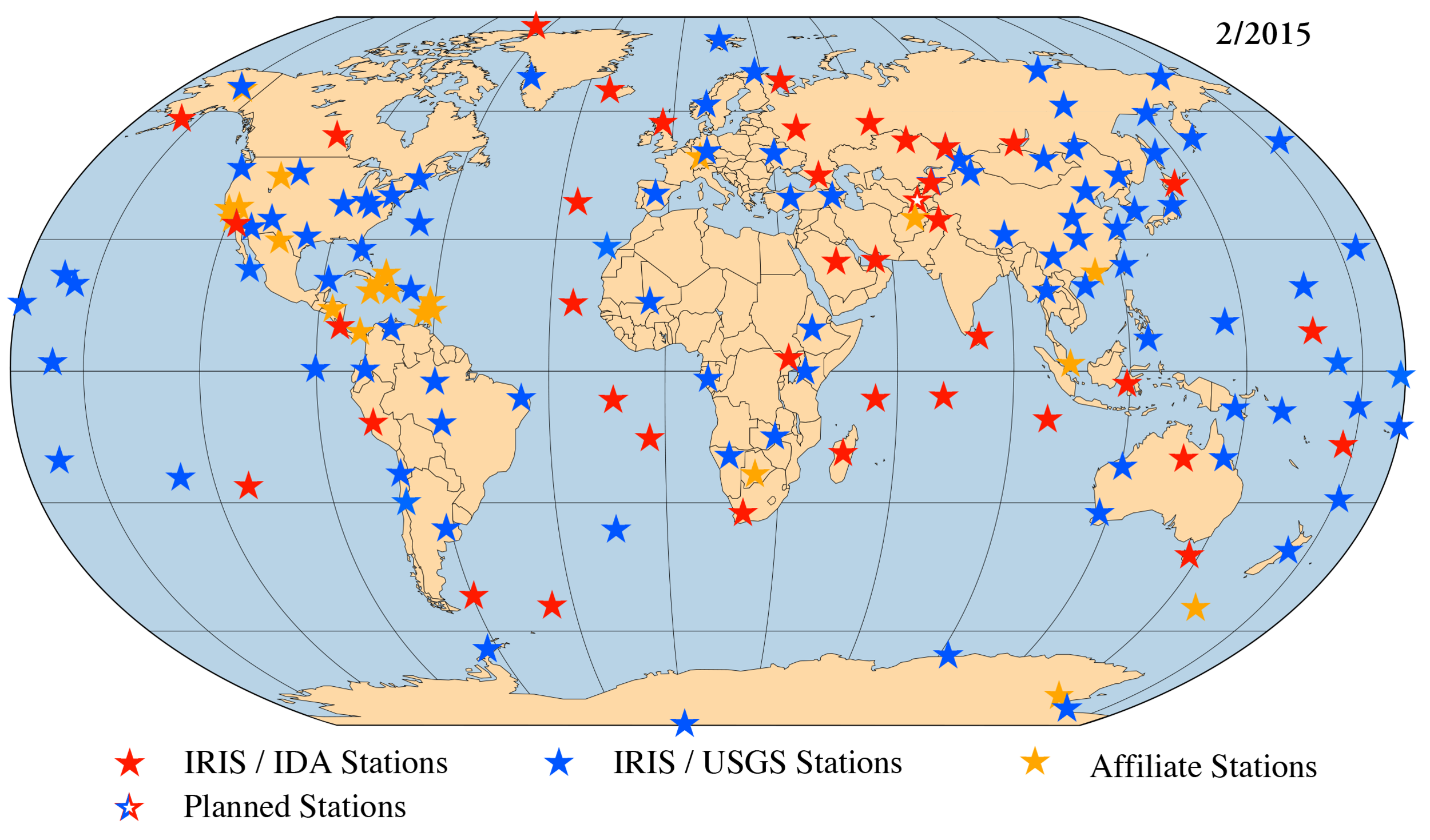 The Global Seismographic Network (GSN) is a 150+ station, globally distributed, state-of-the-art digital seismic network that provides free, realtime, open access data through the IRIS DMC.  Link.