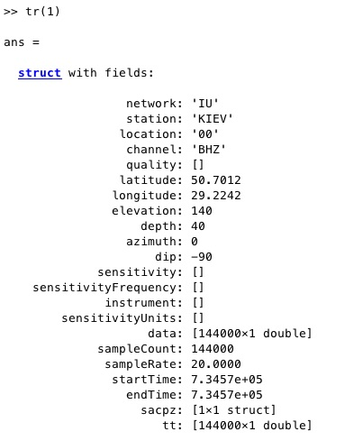 The contents of the trace structure that gets written out (only showing the first element of the structure: tr(1). tr(2) contains the same sort of thing, but for the HRV station - see script above.