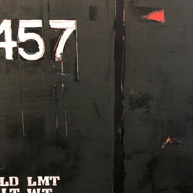 Detail of larger triptych currently on the wall at #vermontstudiocenter . . . . . . . . . #vermontartist #residency #contemporarypainting #whatimworkingontoday #markmaking #numbers #trains #oilpainting #coldwax