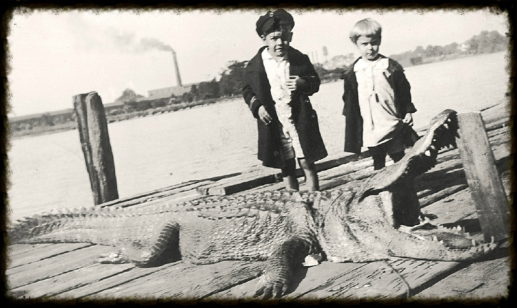 Albert W. Ford, Jr. and Cleo Ford Lightsey with alligator pulled from Sampit River, c.1930.  Photo property of Georgetown County Museum.   All rights reserved.