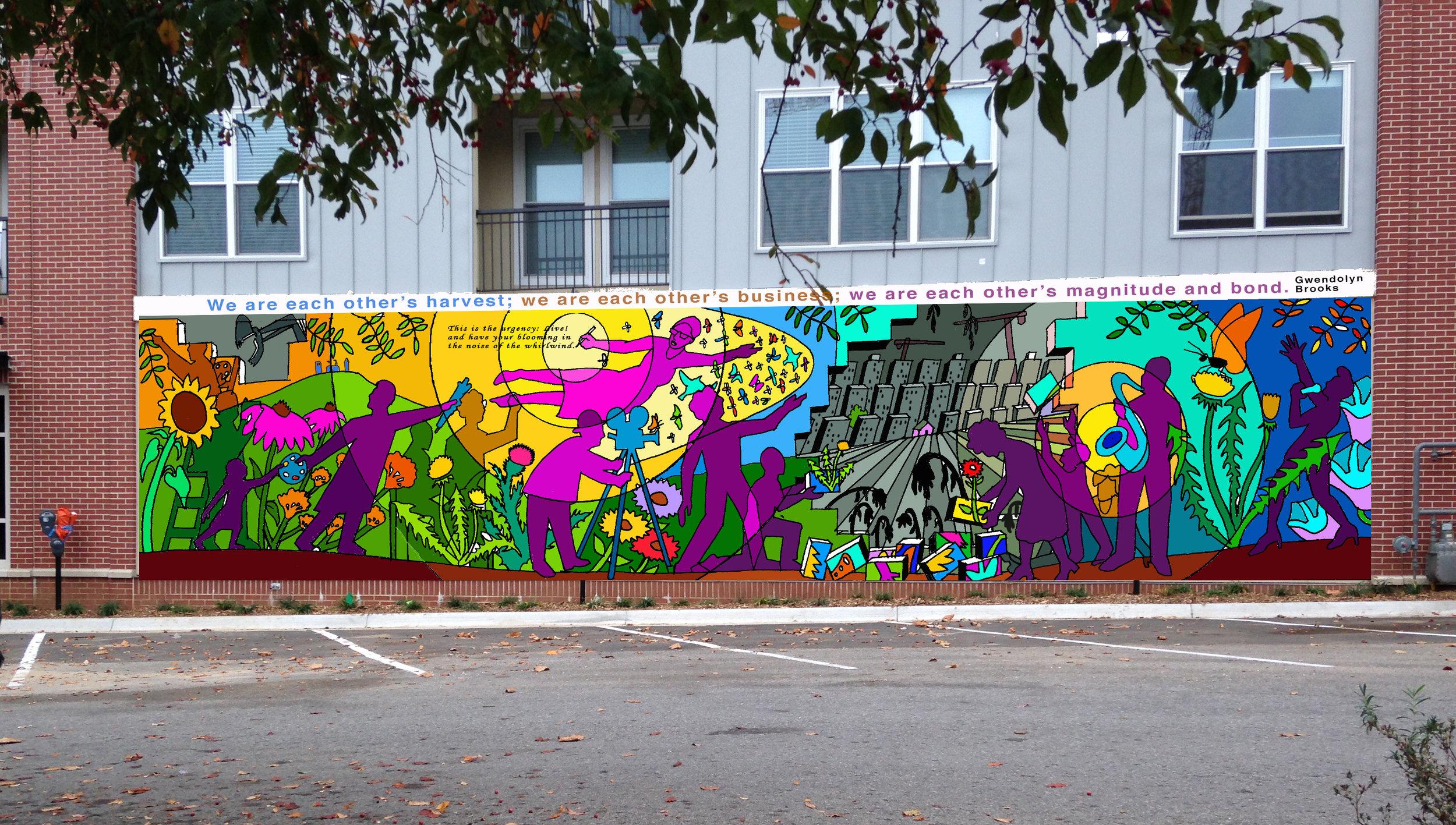 Preliminary color-study of the mural design