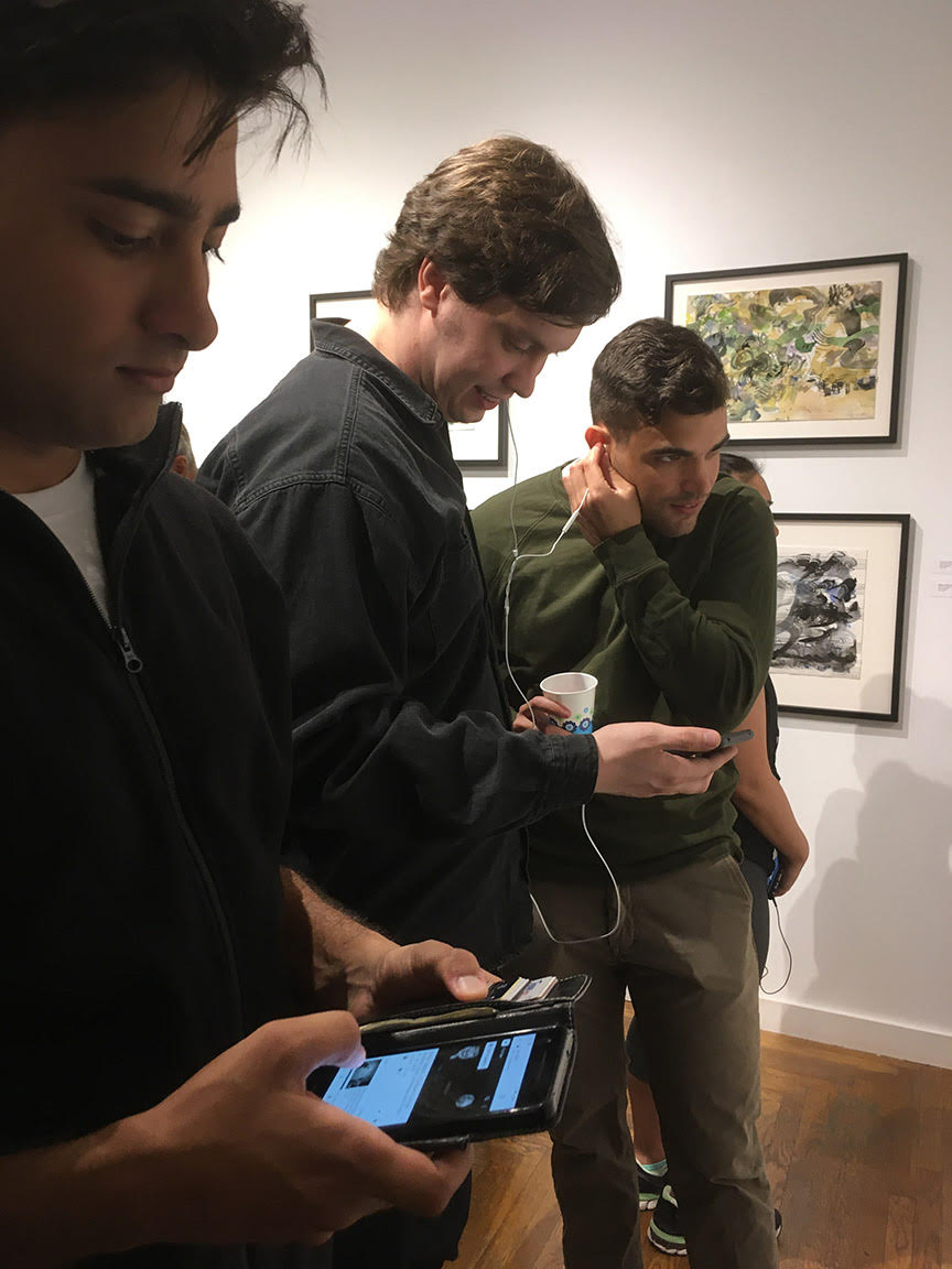 - Gallery visitors using QR codes to hear music that inspired the artwork