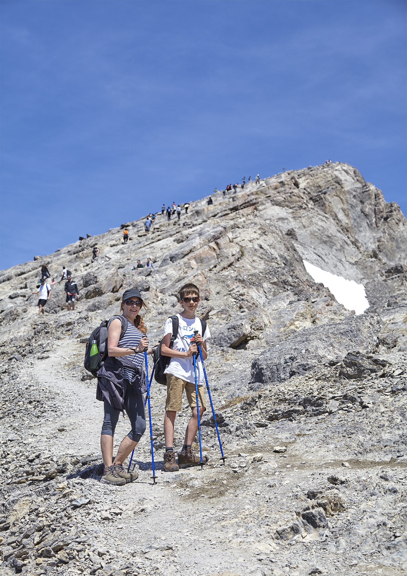 Nadien and Yuri on the ascent of Ha Ling Peak.