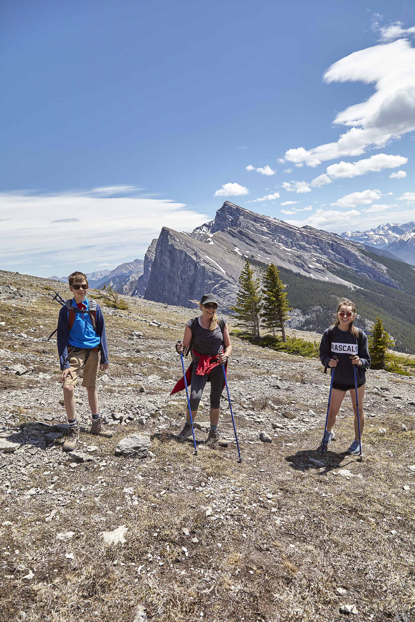 Yuri, Nadien and Katja on the ascent. The  Lawrence Grassi  Massif looms behind.