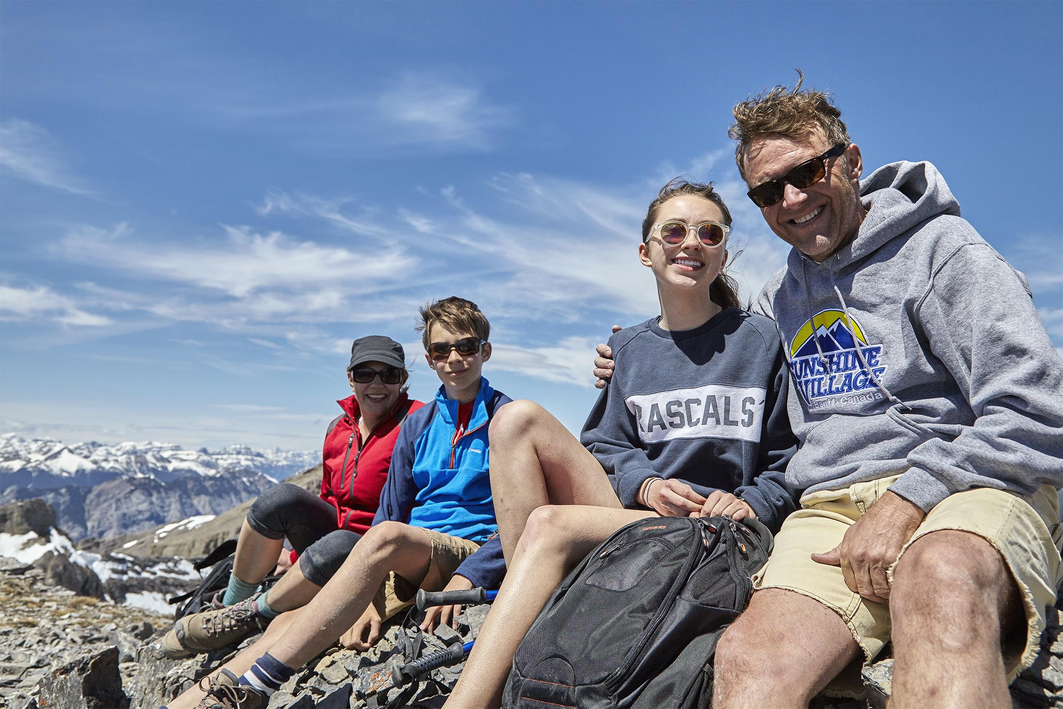 Nadien, Yuri, Katja and Robert taking a break on the false summit.