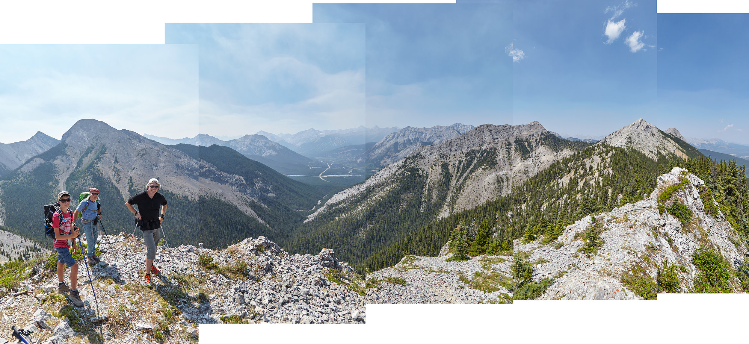 A panorama from the top of the crux gendarme. The summit of Baldy South is in the distance to the right.