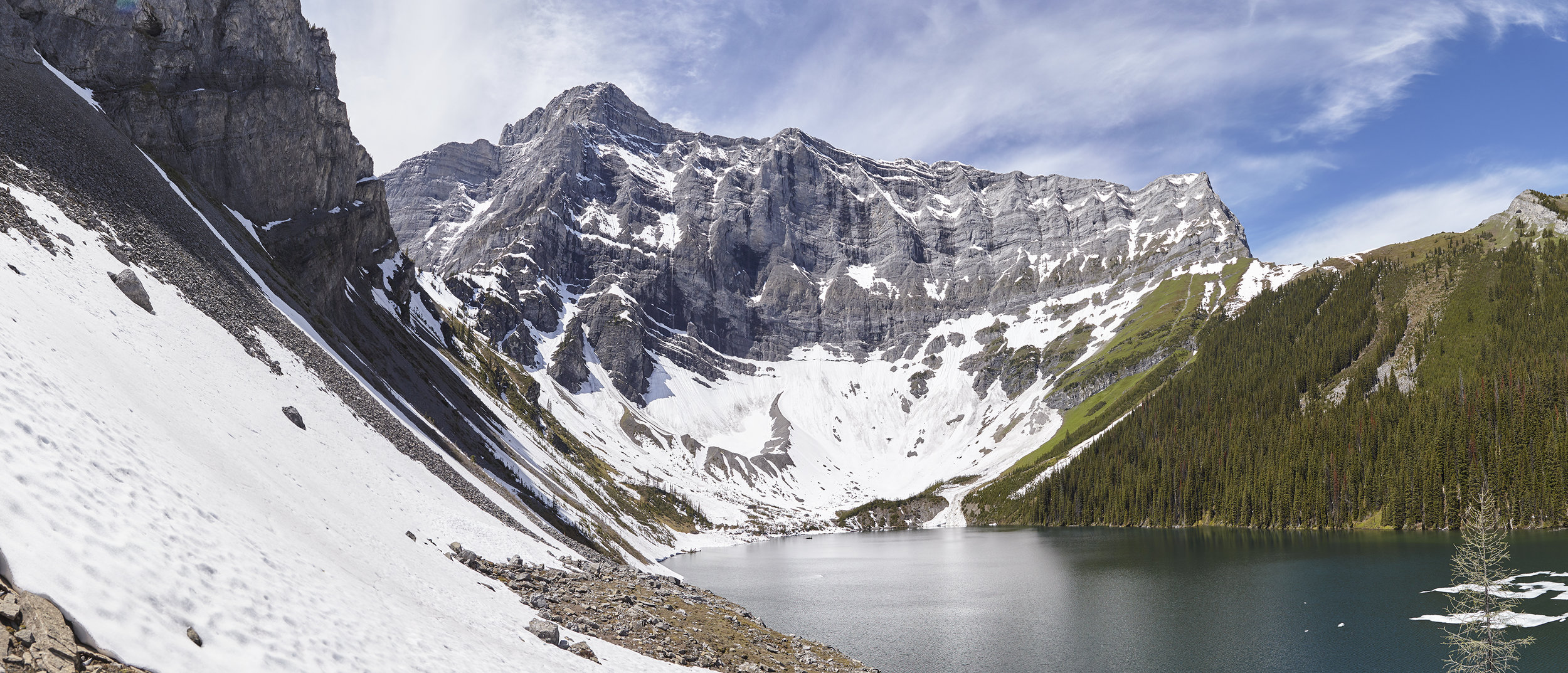 A panorama of Rawson Lake. Out objective, Sarrail Ridge, is the tree covered ridge on the right. We did not summit the highpoint, but instead turned around at the col.