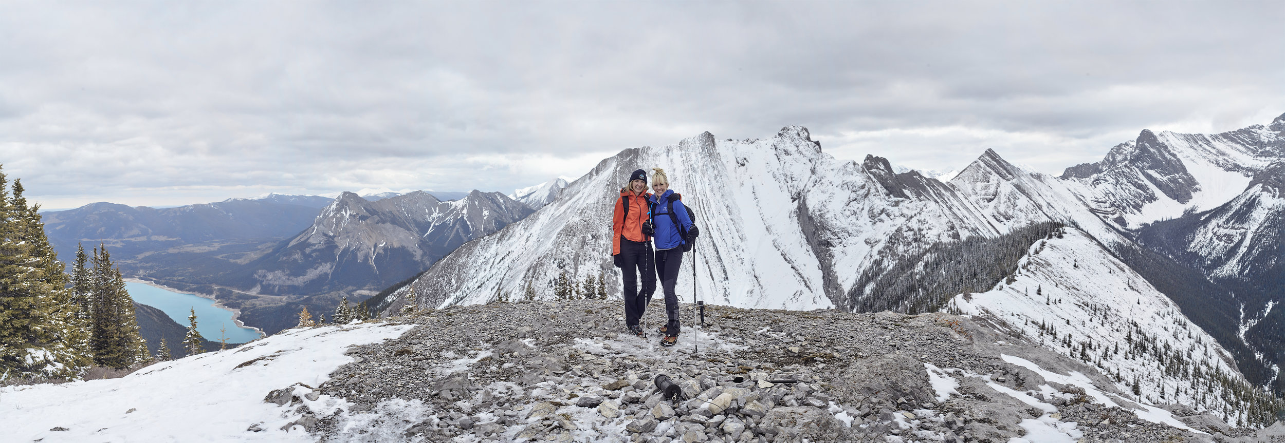 Rebecca and Mindy on the summit of Grant MacEwan Peak. On the left is Barrier Lake below  Mount Baldy .