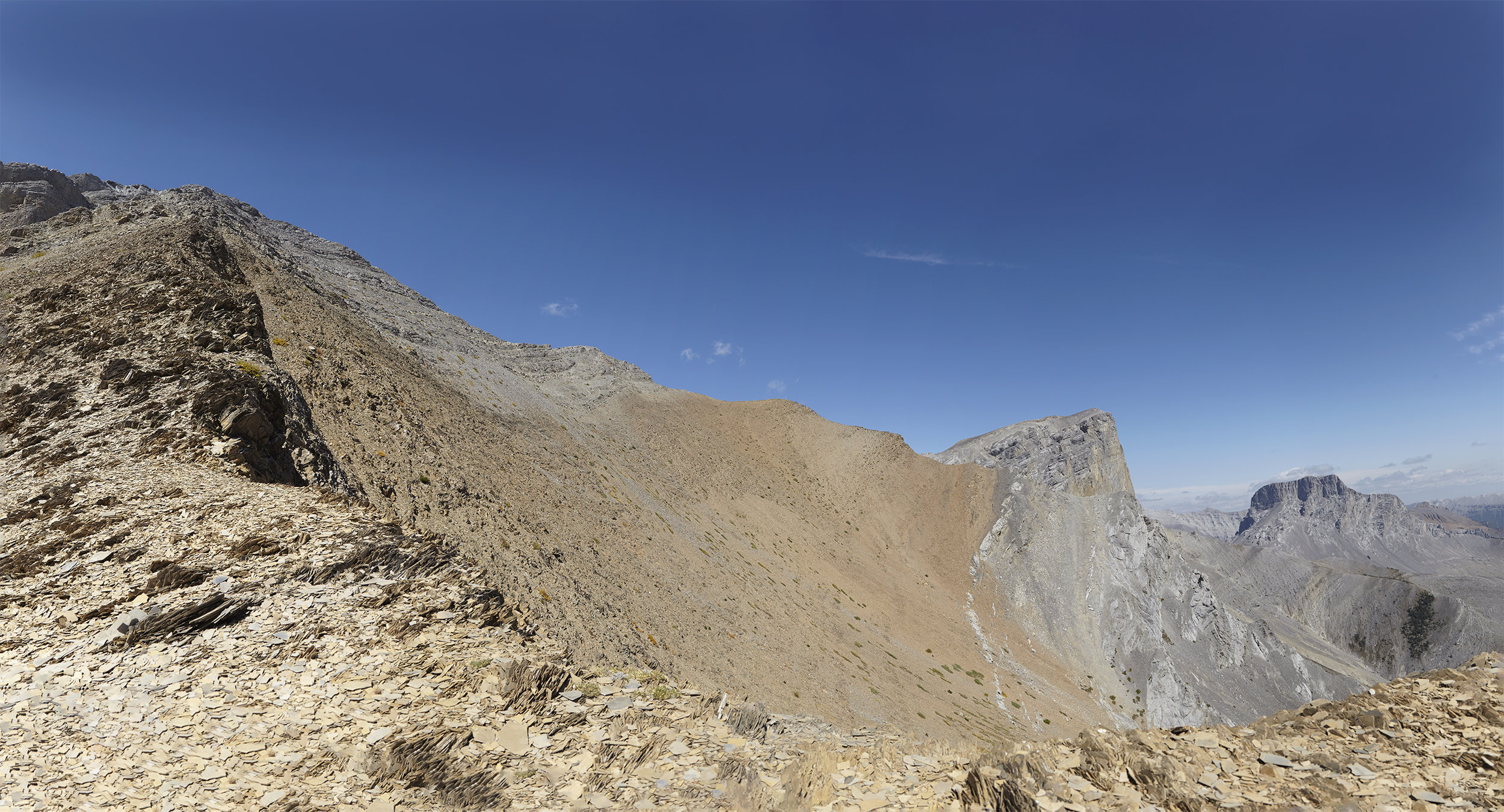 A panorama taken from the col, where we turned around. The ascent route would climb to the outlier on the left before following the ridge to the true summit of Mount Romulus (right of centre). Mount Remus is in the peak farthest to the right.