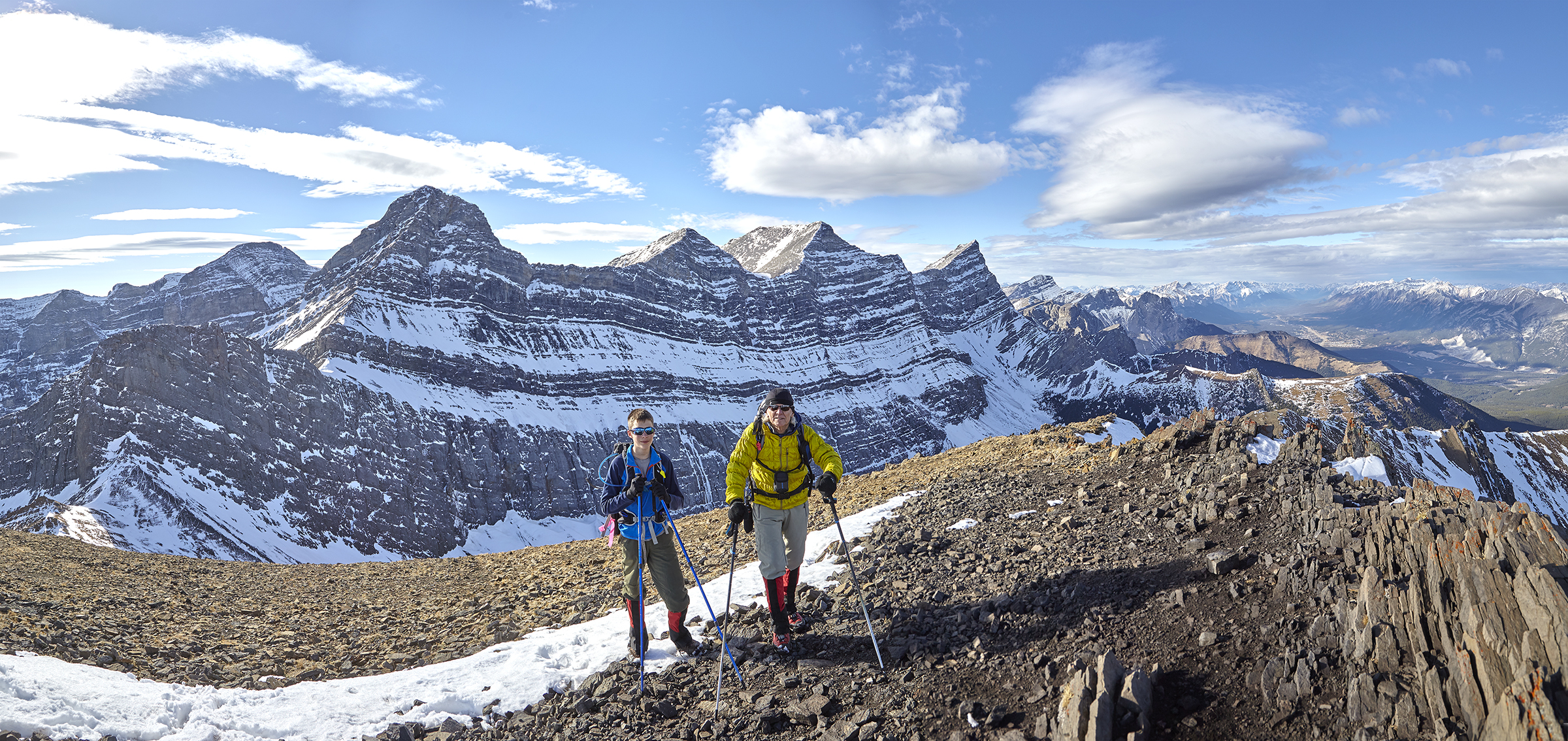 Yuri and Milan on the summit of Mount Allan. Mount Lougheed looms behind.