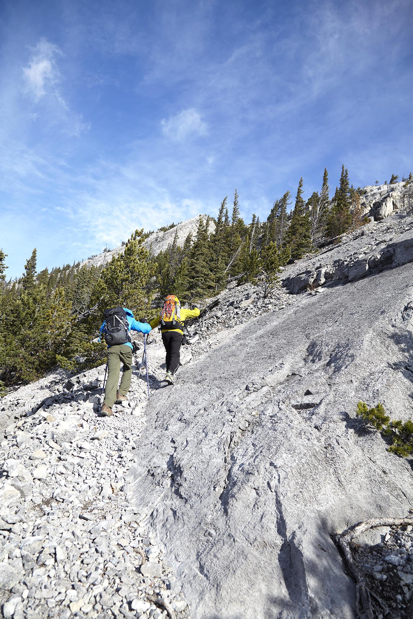 Yuri and Milan negotiating slabs on Doorjamb Mountain.