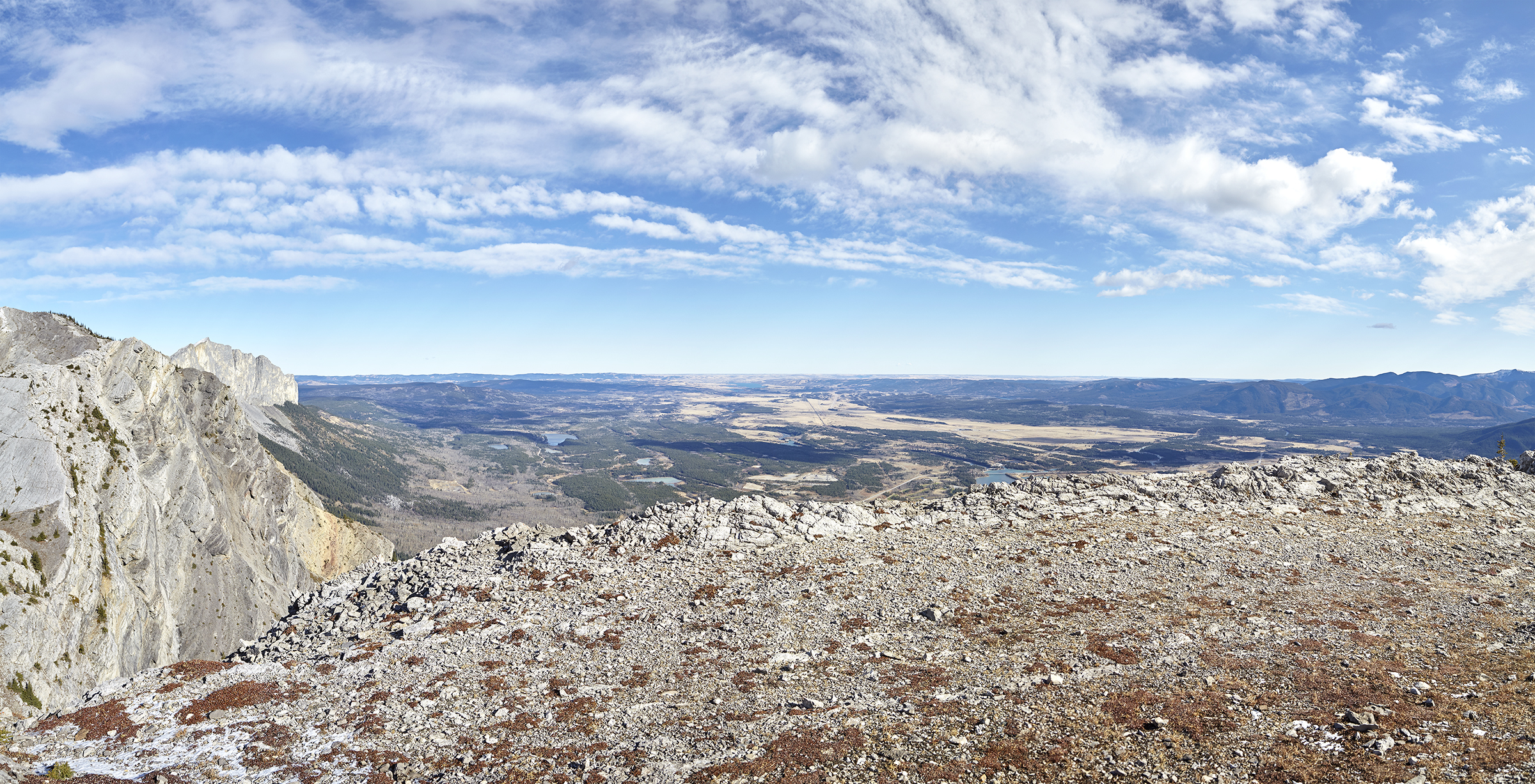 Mount Yamnuska  and the prairies from the summit of Loder Peak.