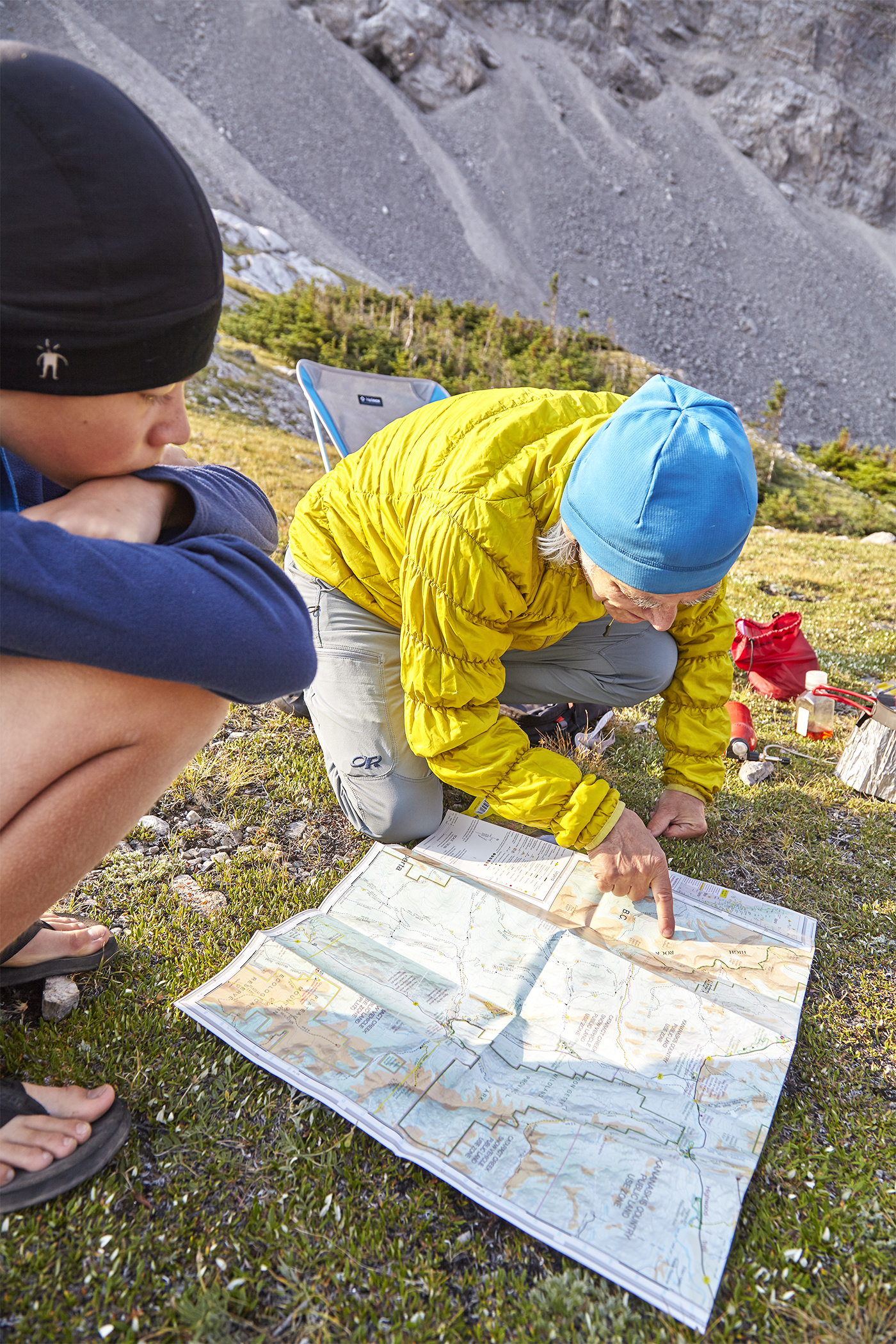 Yuri and Milan planning which mountain to scramble from our campsite.