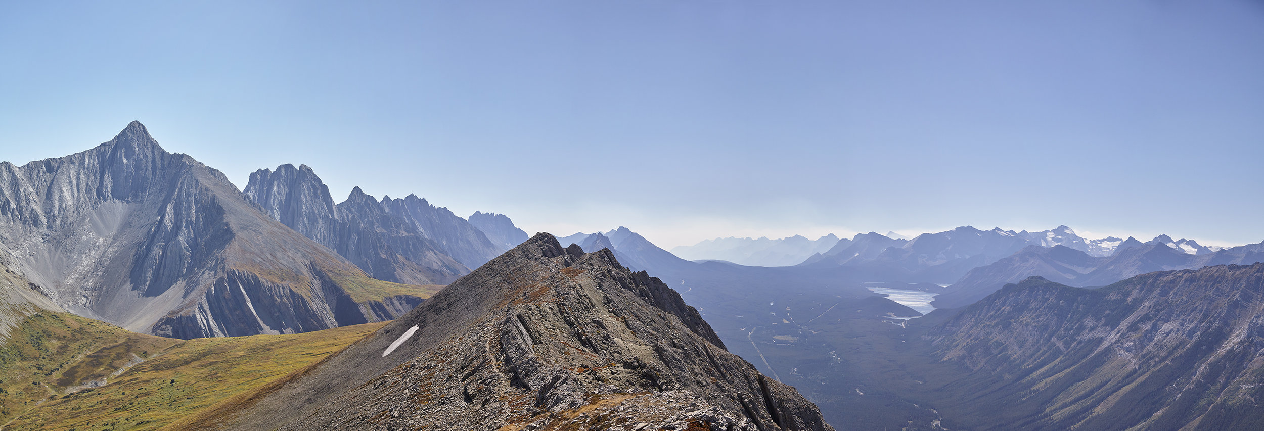 A summit panorama looking south. The sharp peak to the left is Mount Evan-Thomas.