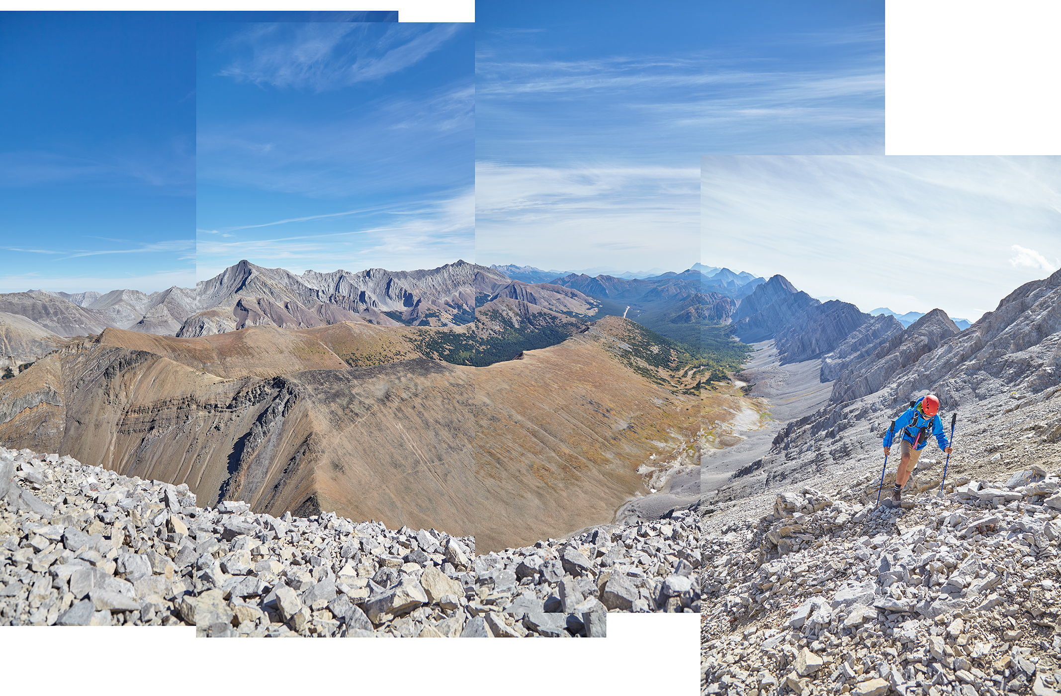 A panorama from near the rock arch. The brown peak beneath us is Grizzly Ridge.